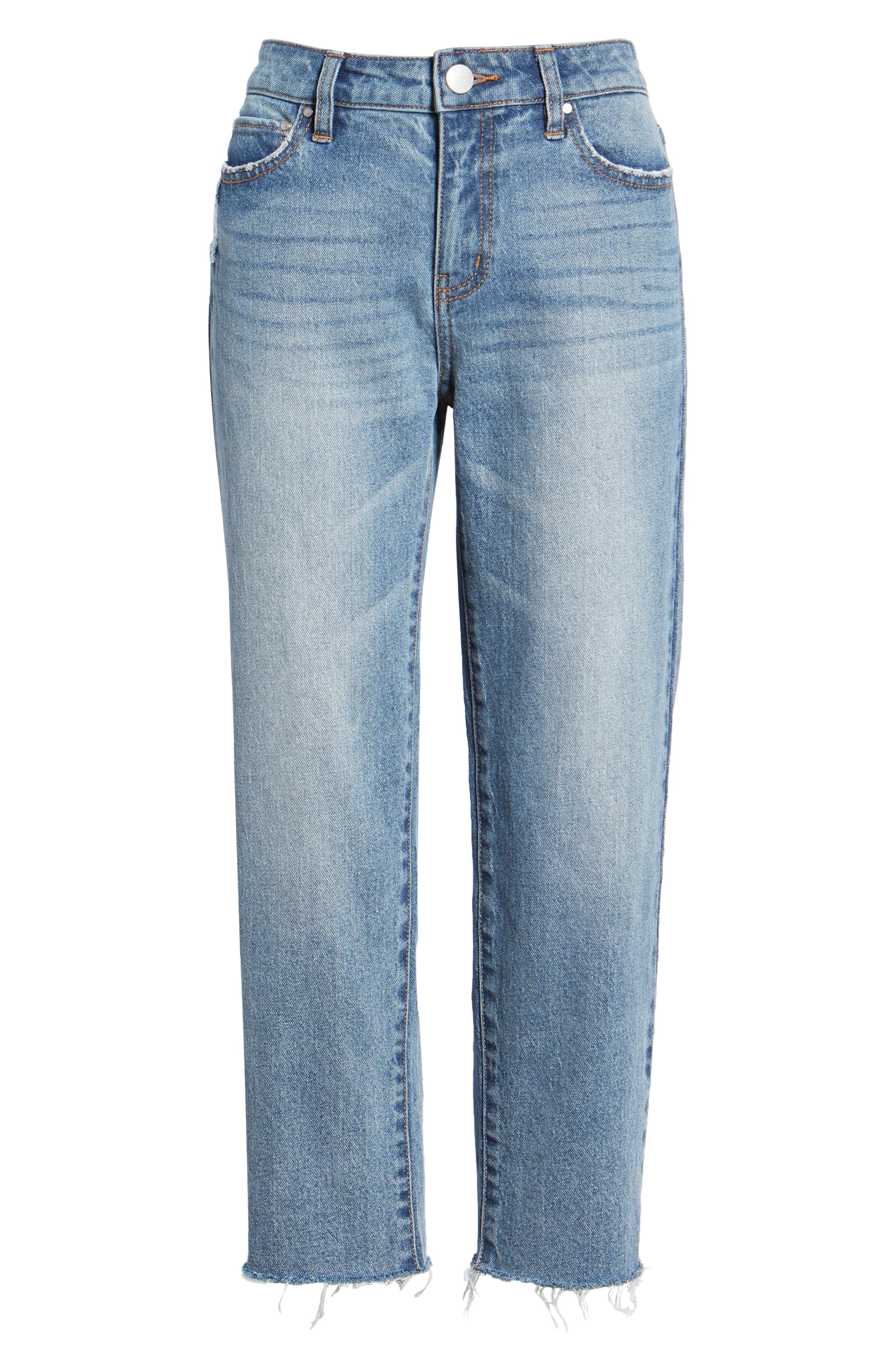 PROSPERITY DENIM, Crop Straight Leg Jeans, Alternate thumbnail 7, color, MED WASH