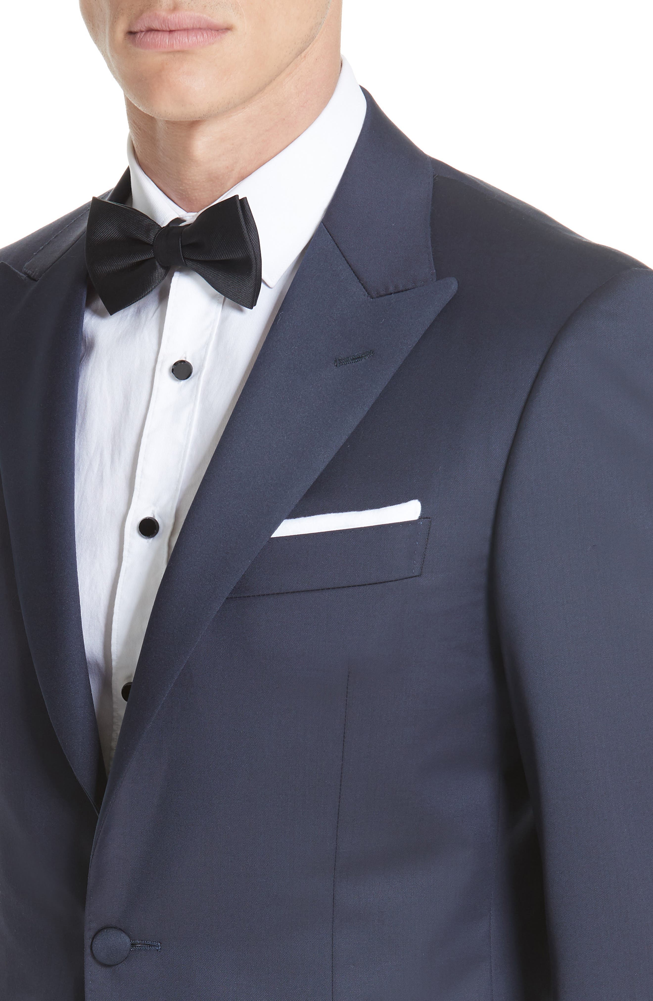 CANALI, Classic Fit Wool Tuxedo, Alternate thumbnail 4, color, NAVY