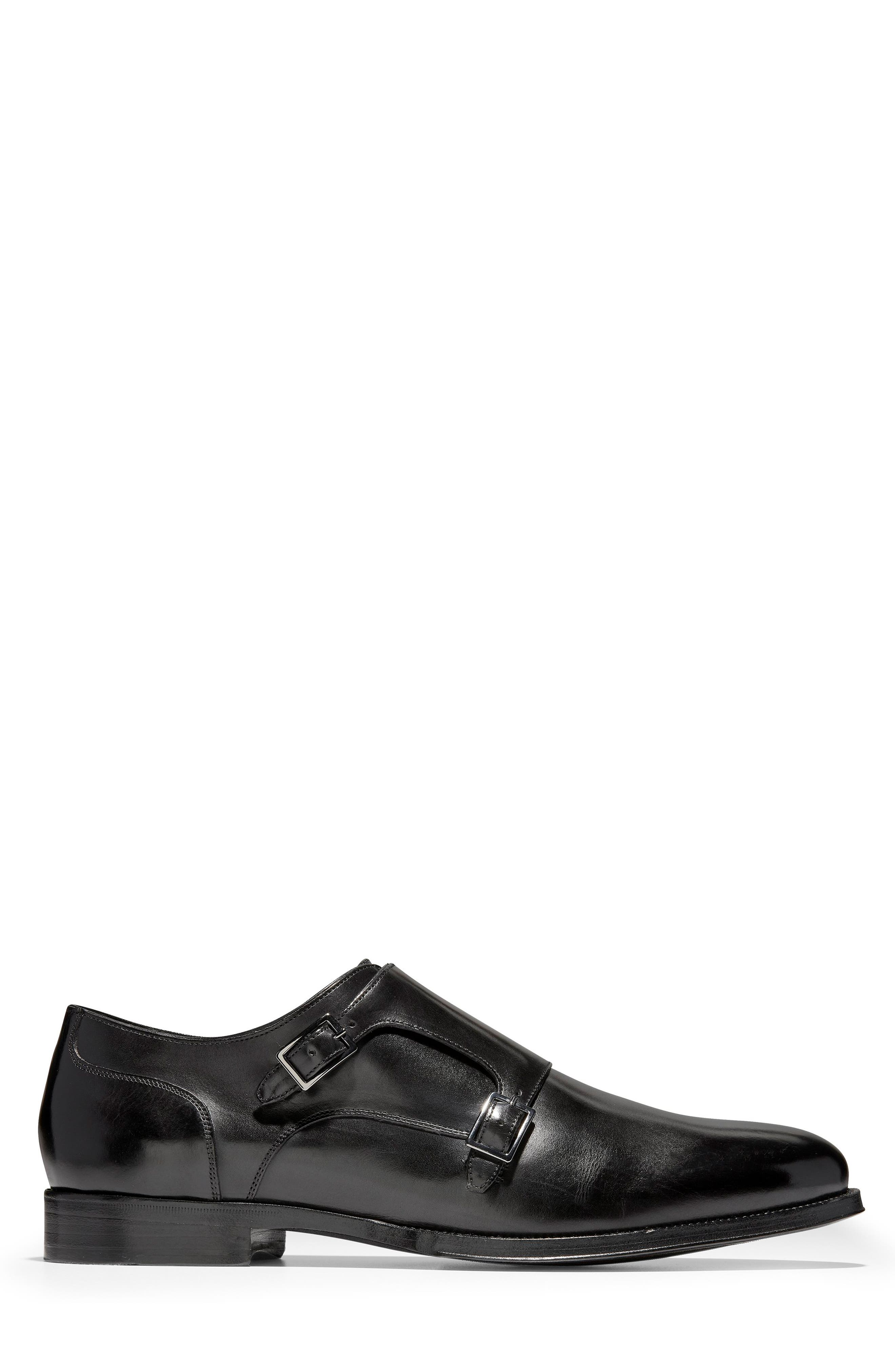 COLE HAAN, American Classics Gramercy Double Strap Monk Shoe, Alternate thumbnail 3, color, BLACK LEATHER