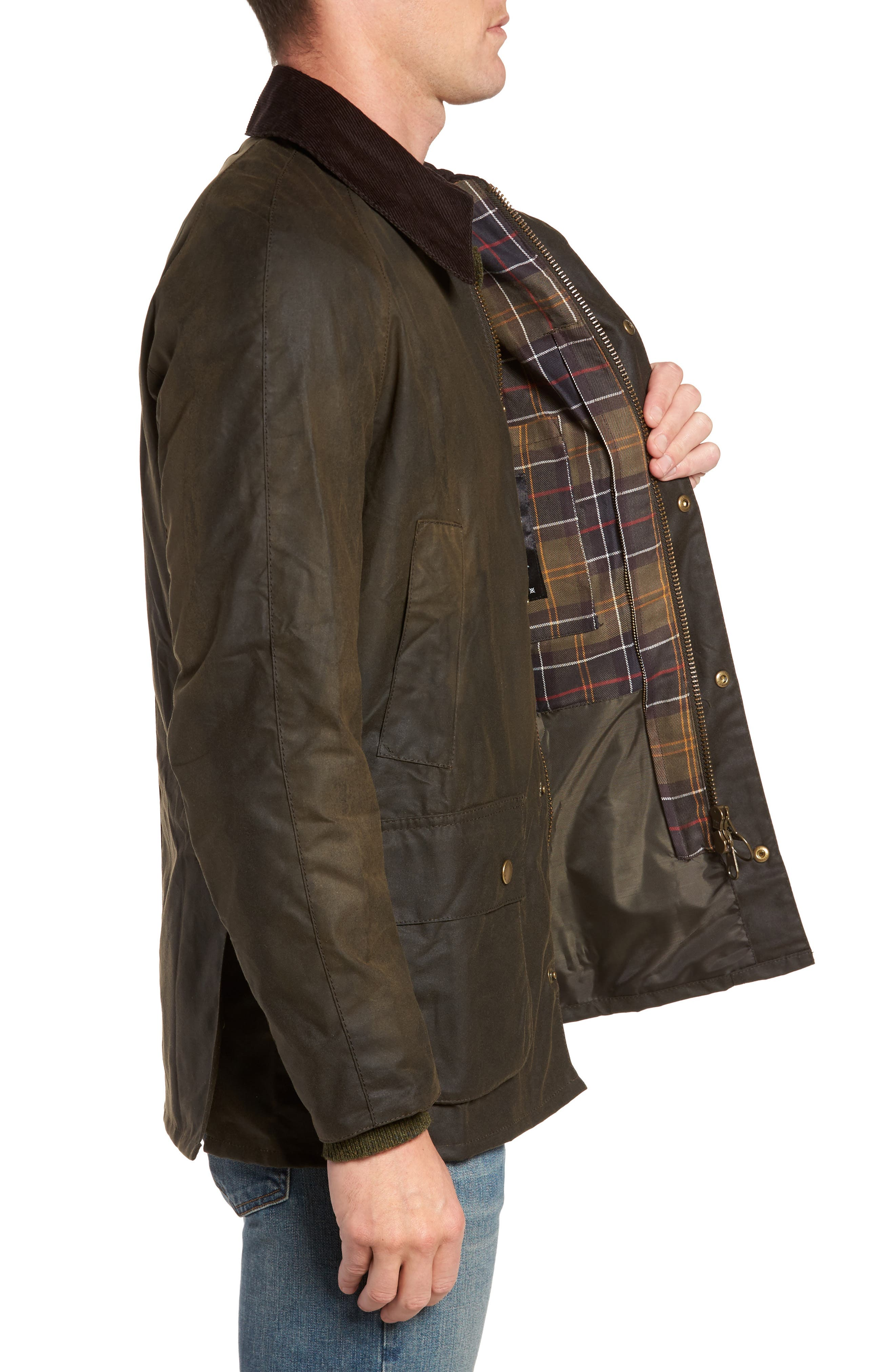 BARBOUR, Ashby Wax Jacket, Alternate thumbnail 4, color, OLIVE