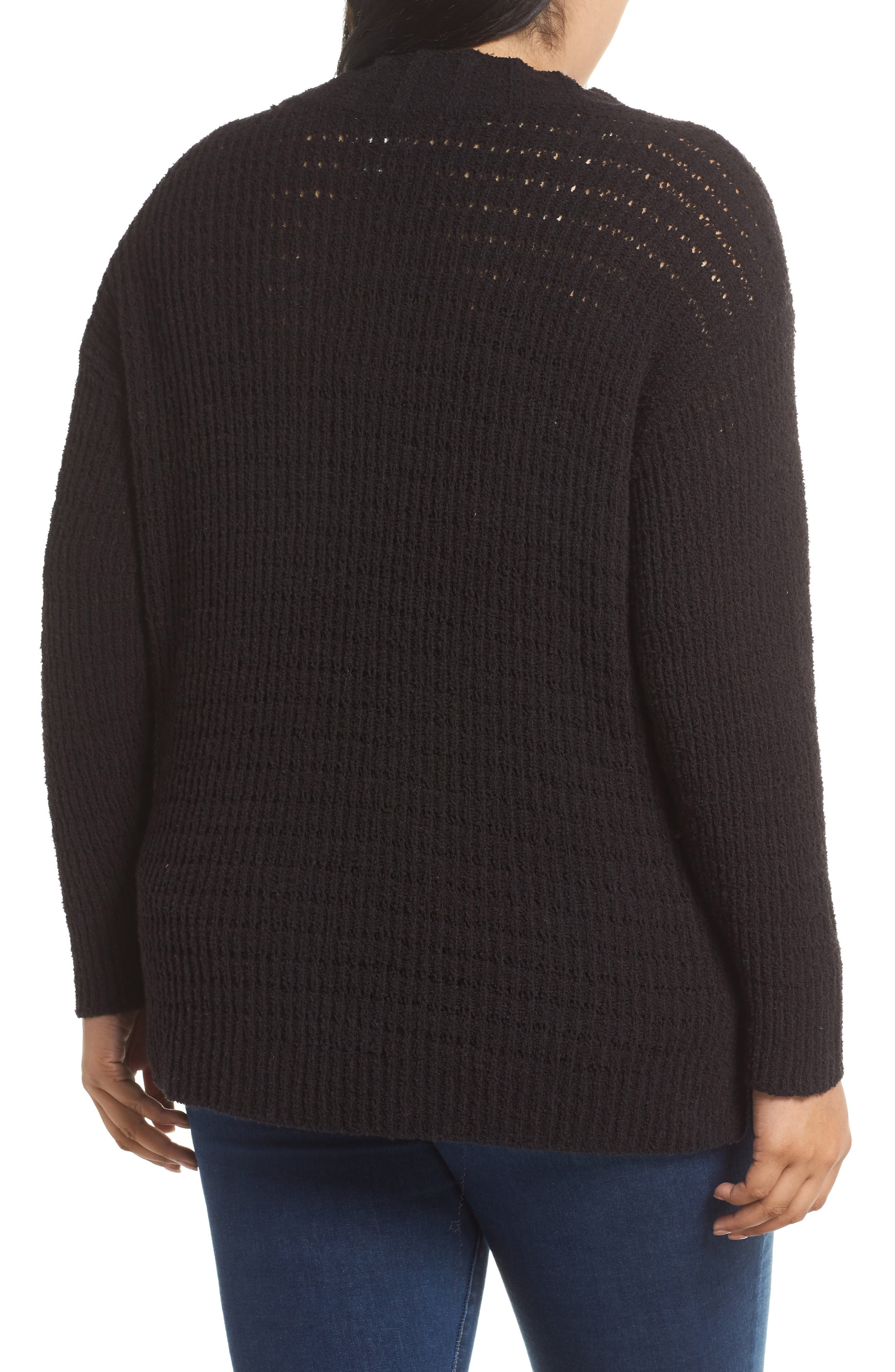 CASLON<SUP>®</SUP>, Tuck Stitch Sweater, Alternate thumbnail 2, color, BLACK