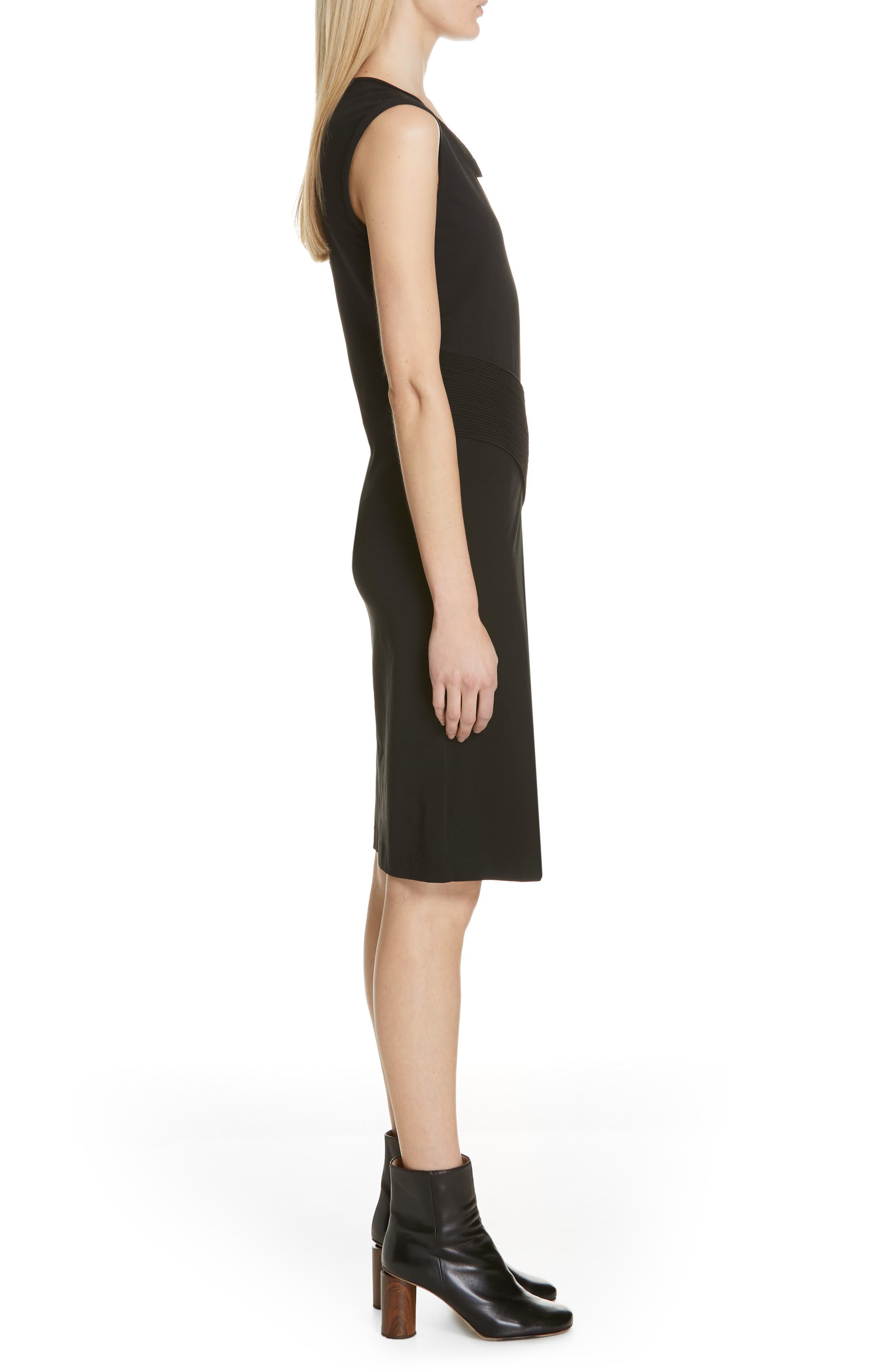 HELMUT LANG, Pleated Jersey Dress, Alternate thumbnail 4, color, BLACK