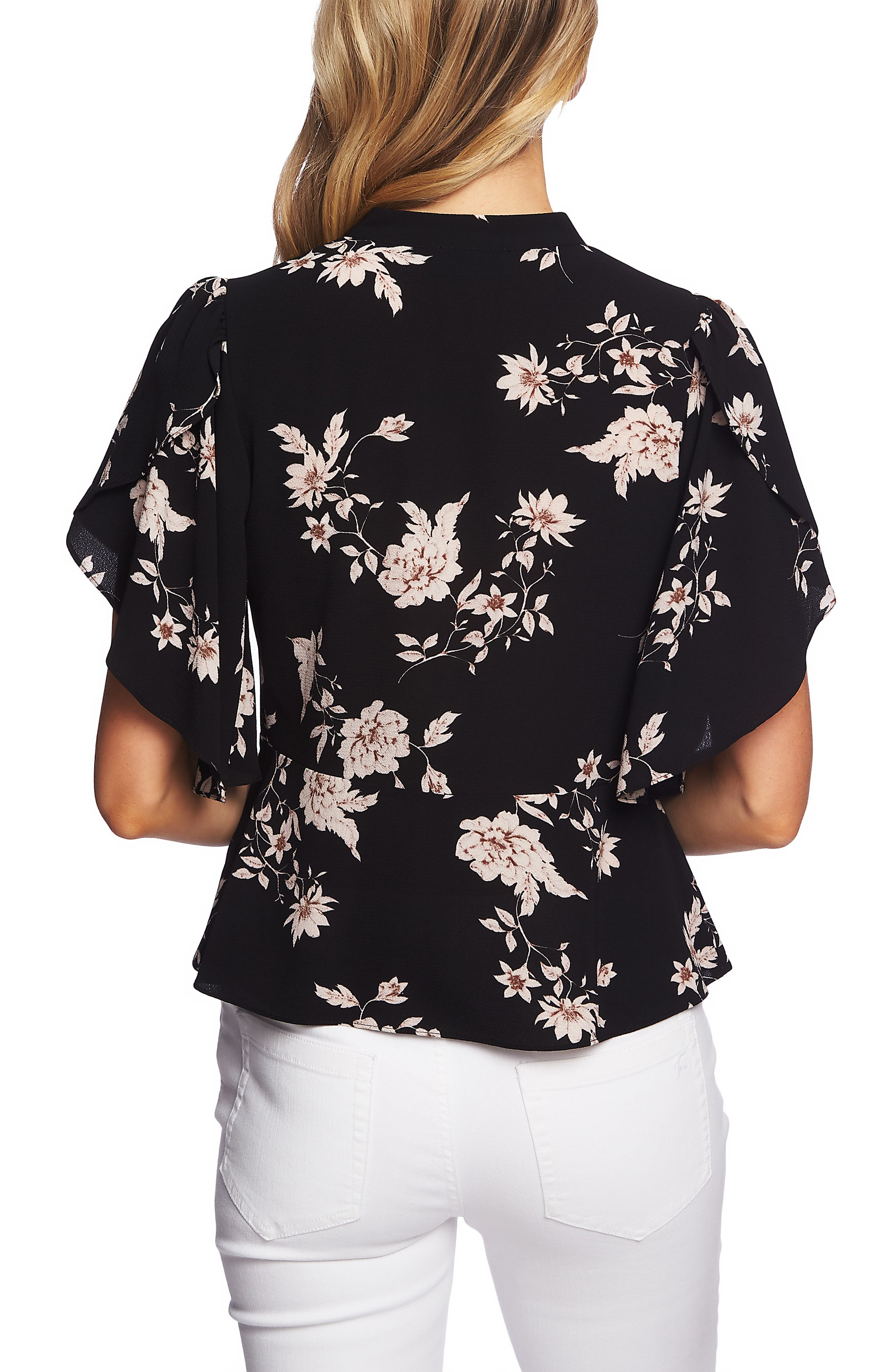 CECE, Etched Floral Tie Neck Blouse, Alternate thumbnail 2, color, RICH BLACK