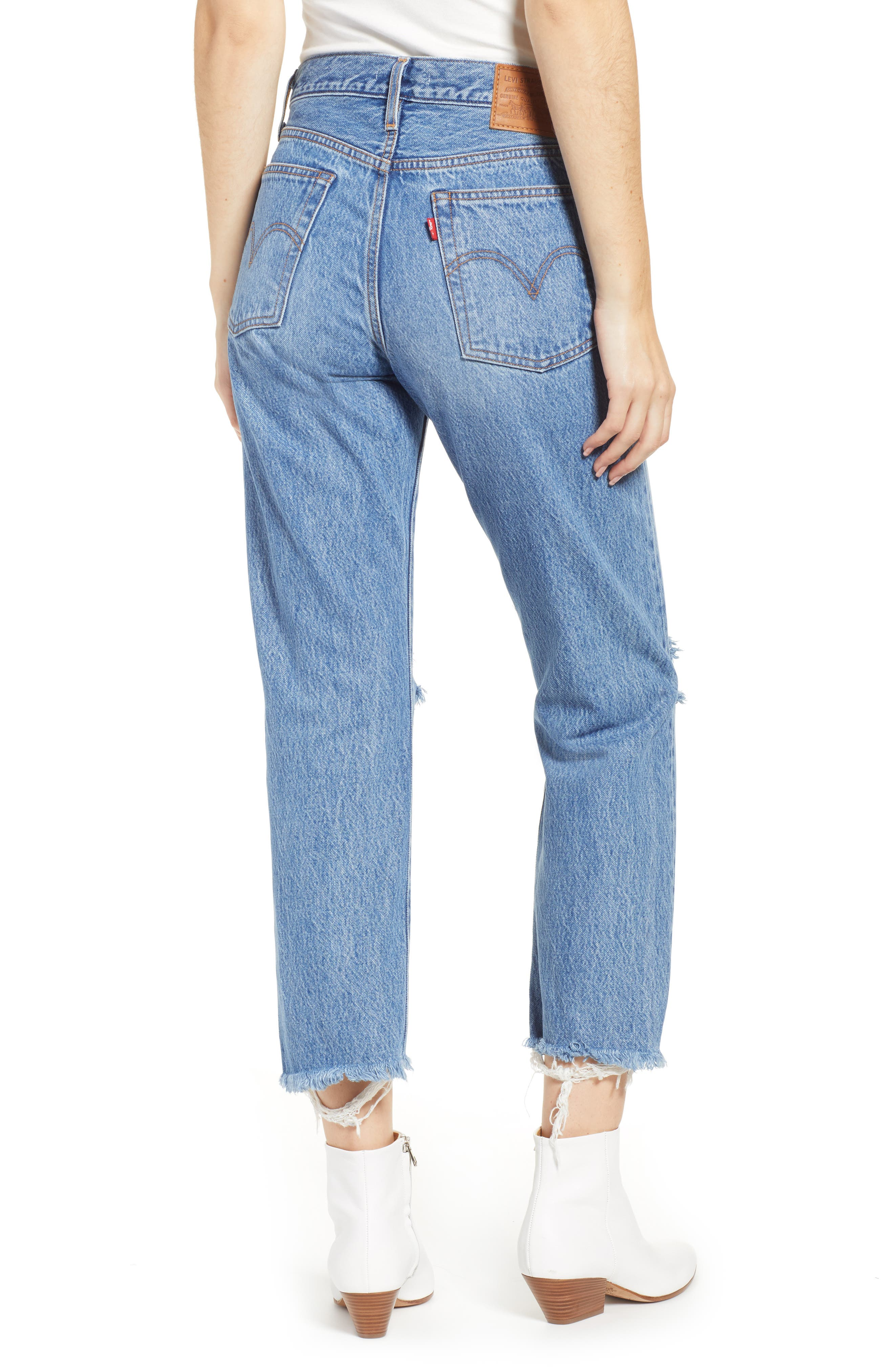 LEVI'S<SUP>®</SUP>, Wedgie High Waist Ripped Crop Straight Leg Jeans, Alternate thumbnail 2, color, UNCOVERED TRUTH