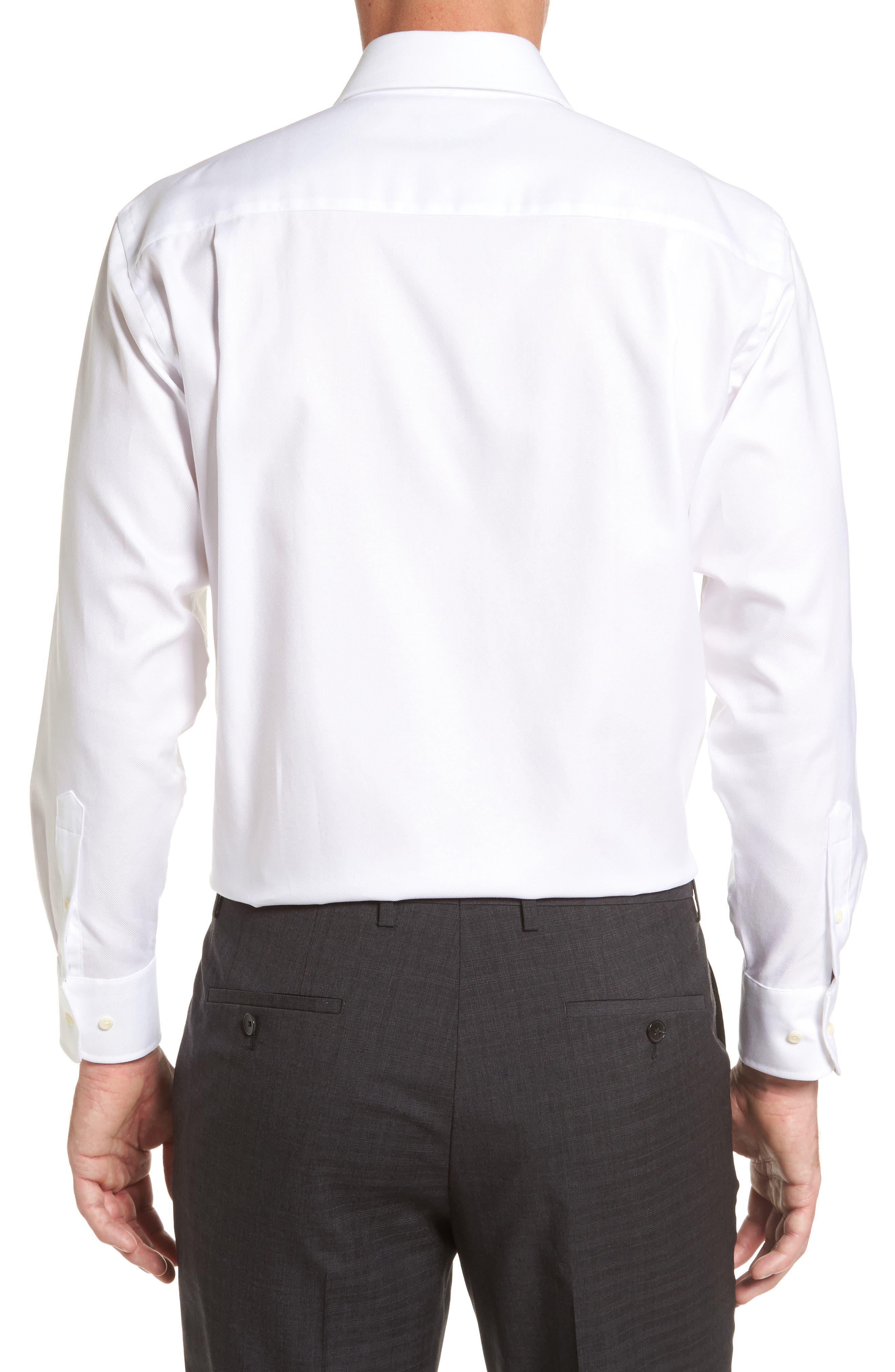 DAVID DONAHUE, Regular Fit Oxford Dress Shirt, Alternate thumbnail 3, color, WHITE