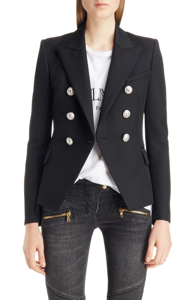 Balmain Double Breasted Wool Blazer In Blue/Silver