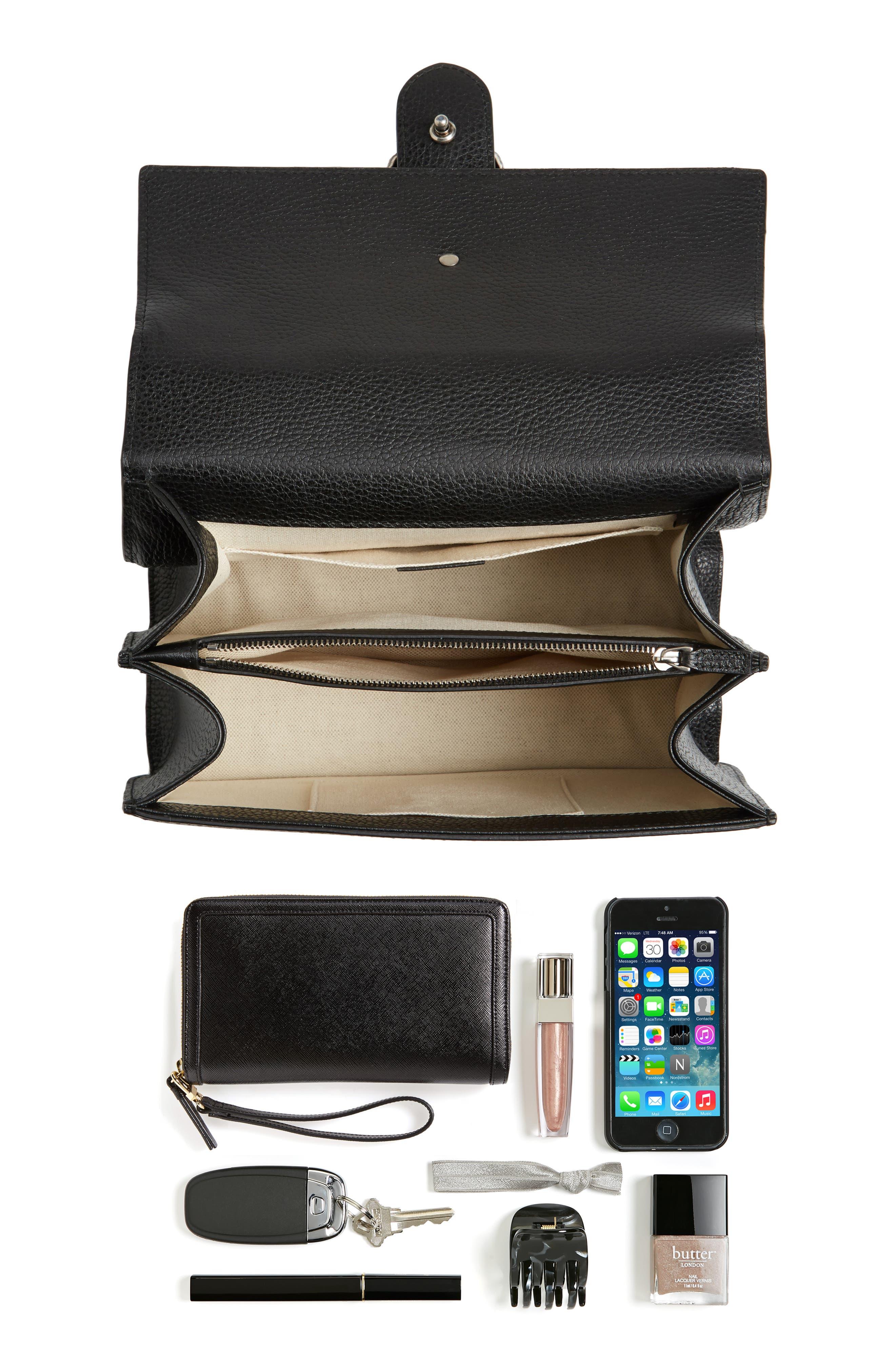 GUCCI, Medium Dionysus Leather Top Handle Satchel, Alternate thumbnail 6, color, NERO/ VRV/ BLACK DIAMOND