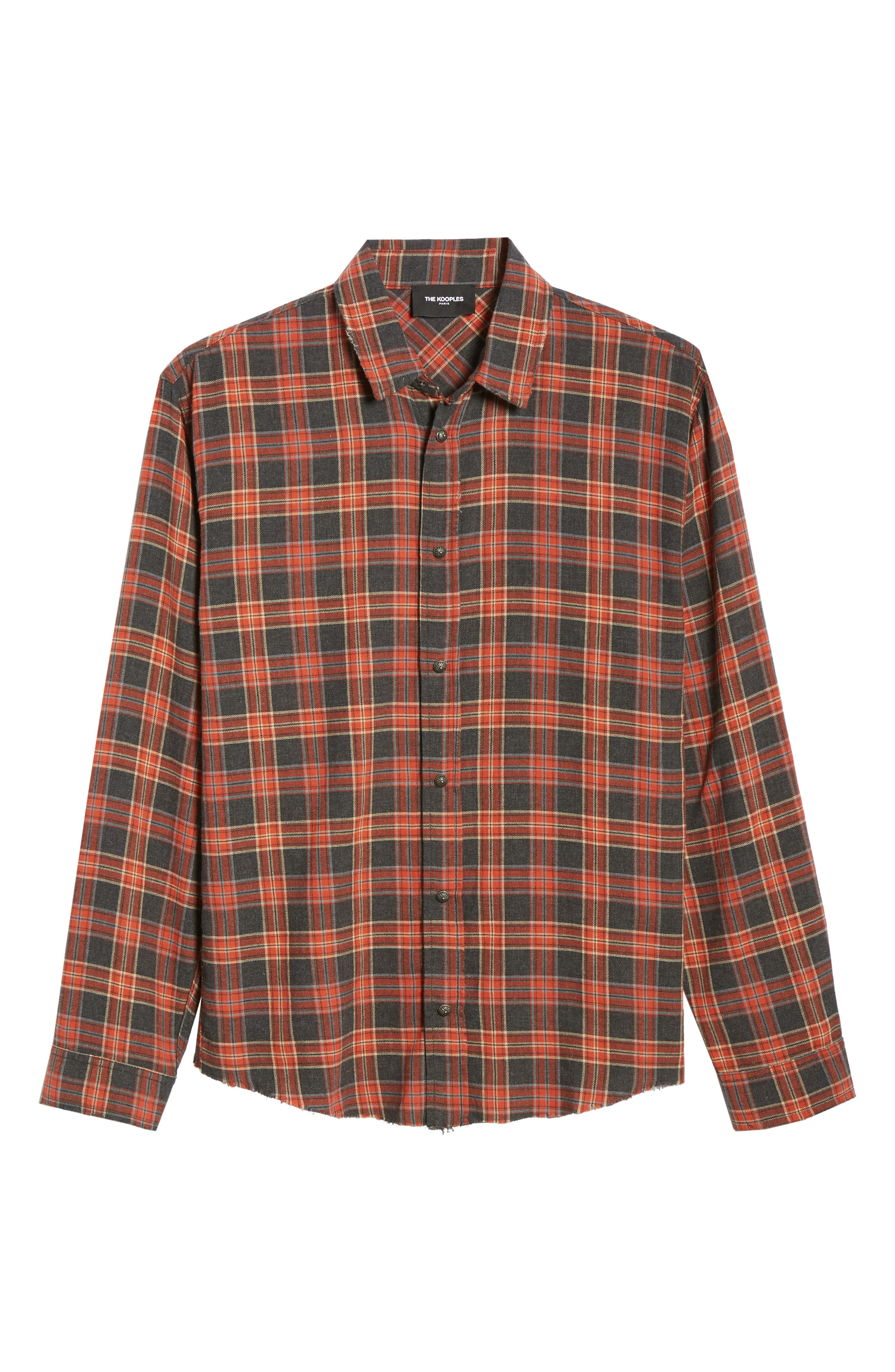 THE KOOPLES, Plaid Regular Fit Flannel Shirt, Alternate thumbnail 5, color, 800
