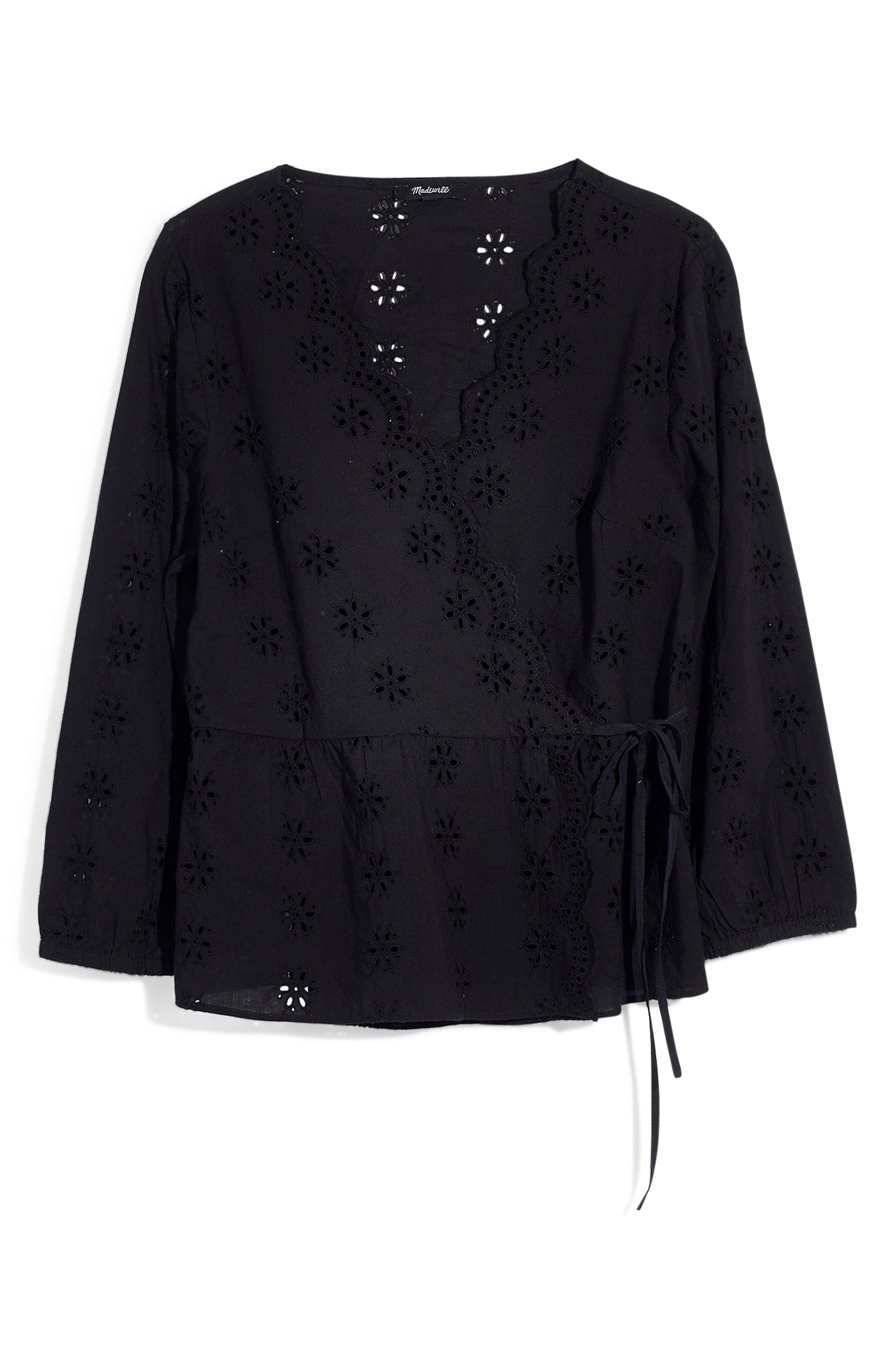 MADEWELL Scalloped Eyelet Wrap Top, Main, color, TRUE BLACK