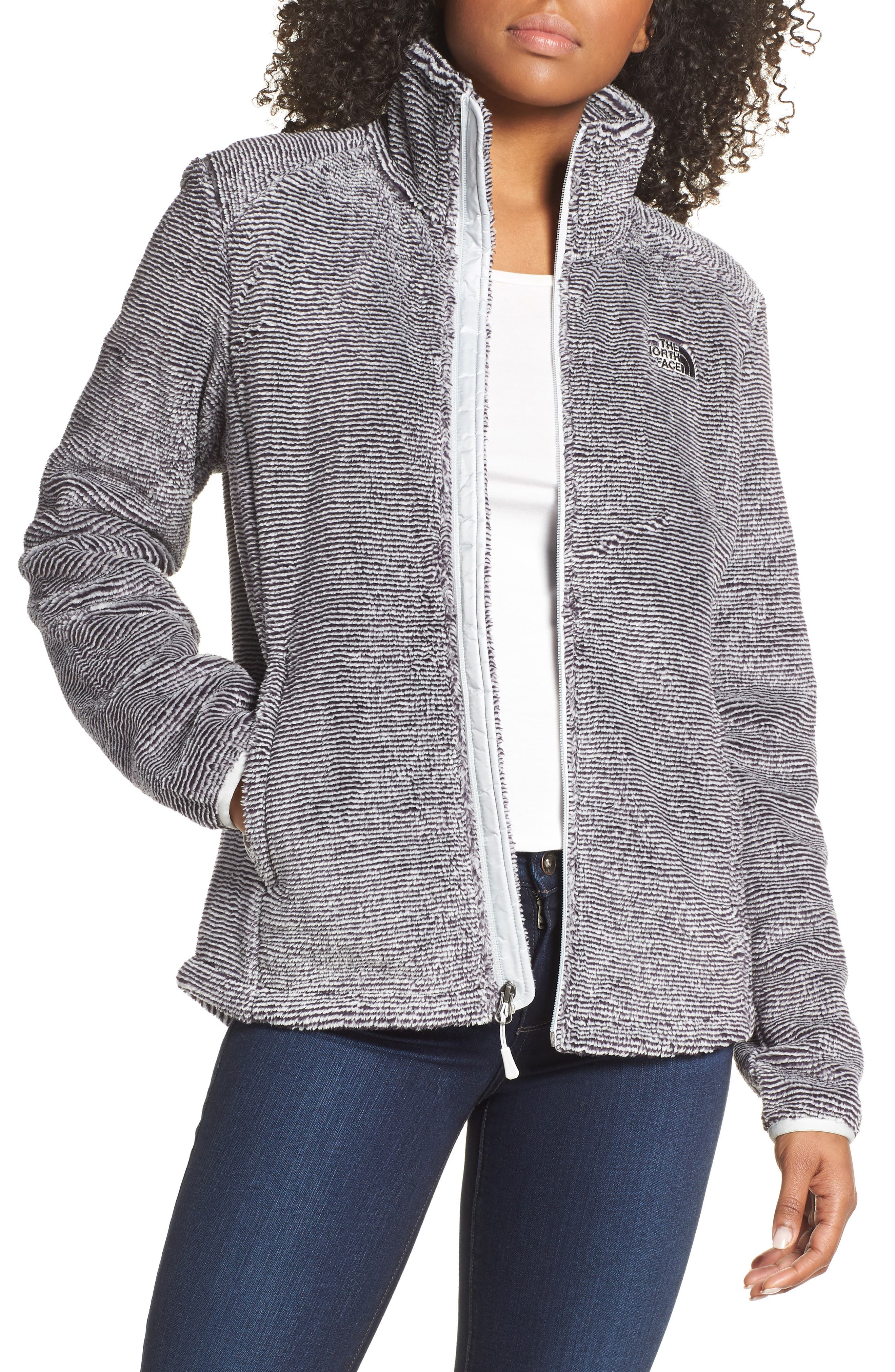 THE NORTH FACE, Osito 2 Stripe Fleece Jacket, Main thumbnail 1, color, BLACK/ TIN GREY STRIPE