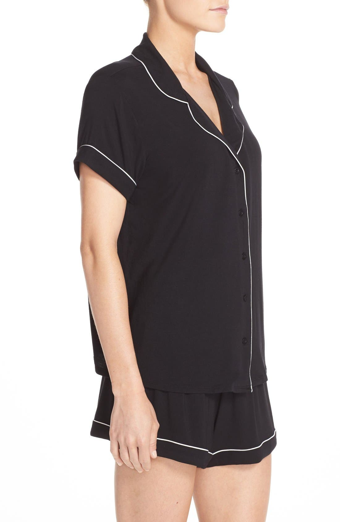 NORDSTROM LINGERIE, Moonlight Short Pajamas, Alternate thumbnail 3, color, BLACK