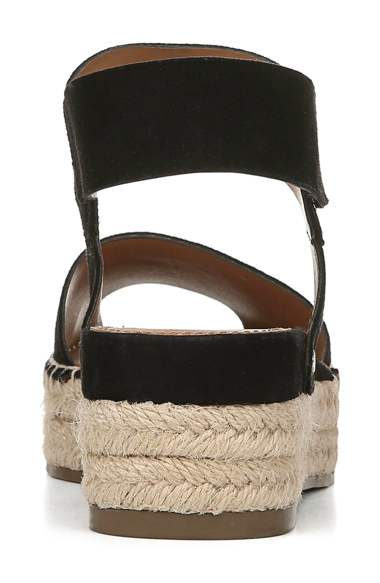 SARTO BY FRANCO SARTO, Oak Platform Wedge Espadrille, Alternate thumbnail 7, color, BLACK SUEDE