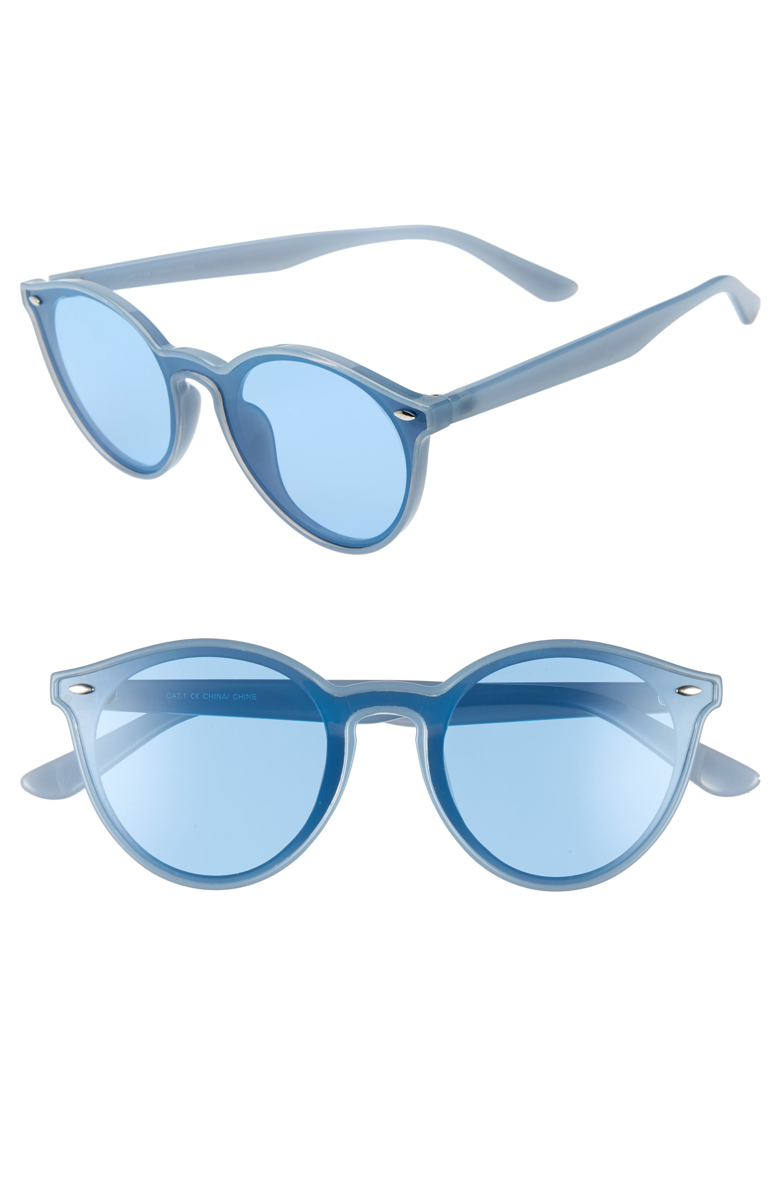 THE RAIL, Nico 53mm Round Sunglasses, Main thumbnail 1, color, BLUE/ BLUE