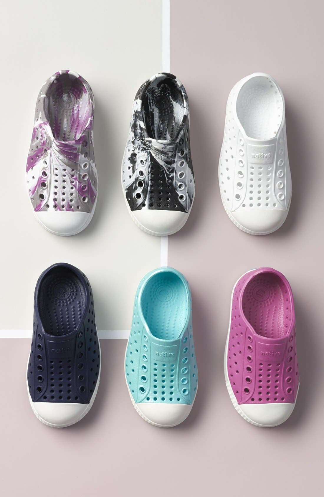 NATIVE SHOES, Jefferson Iridescent Slip-On Vegan Sneaker, Alternate thumbnail 7, color, LAVENDER/ SHELL WHITE/ GALAXY