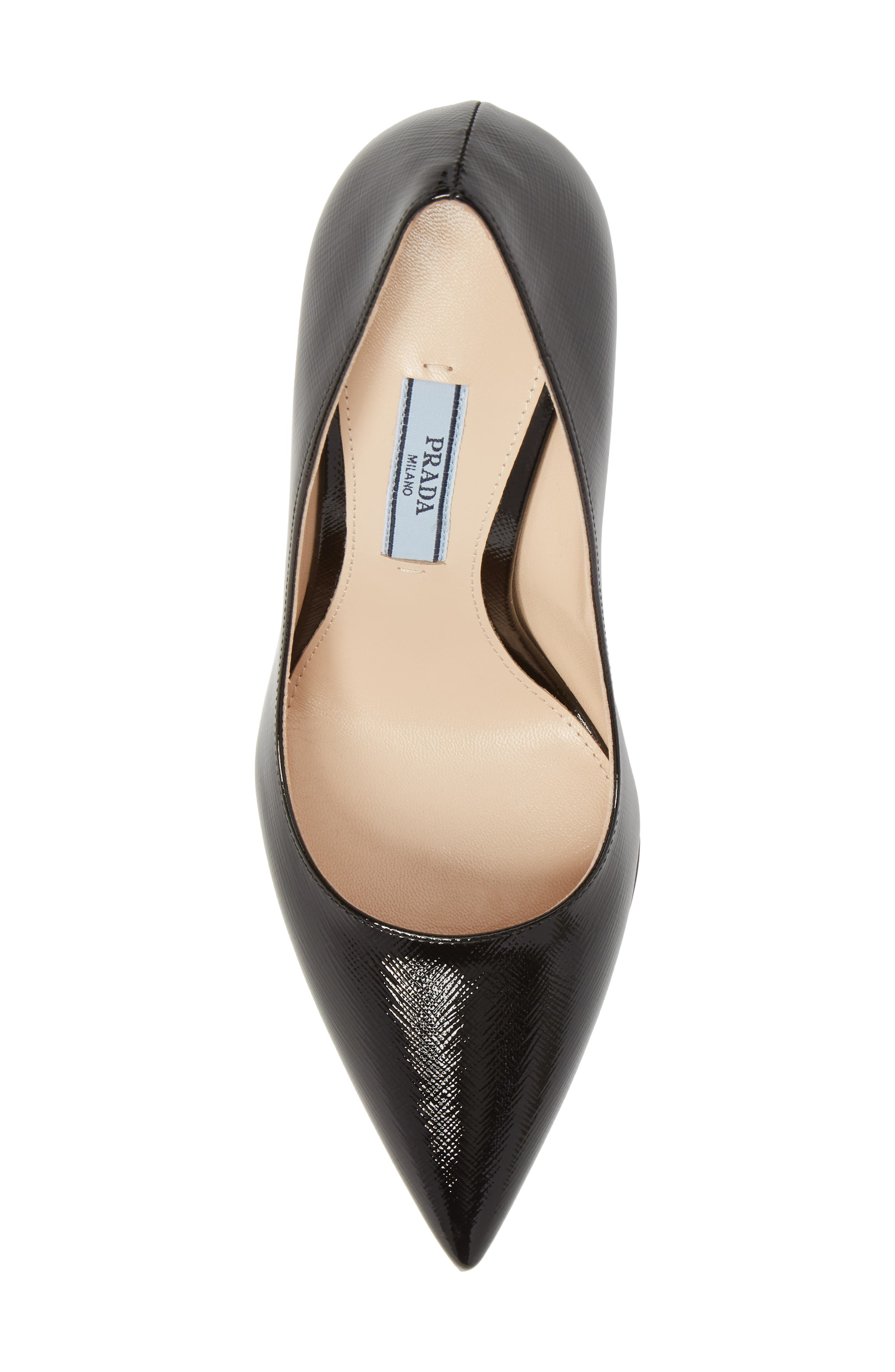 PRADA, Pointy Toe Pump, Alternate thumbnail 5, color, BLACK