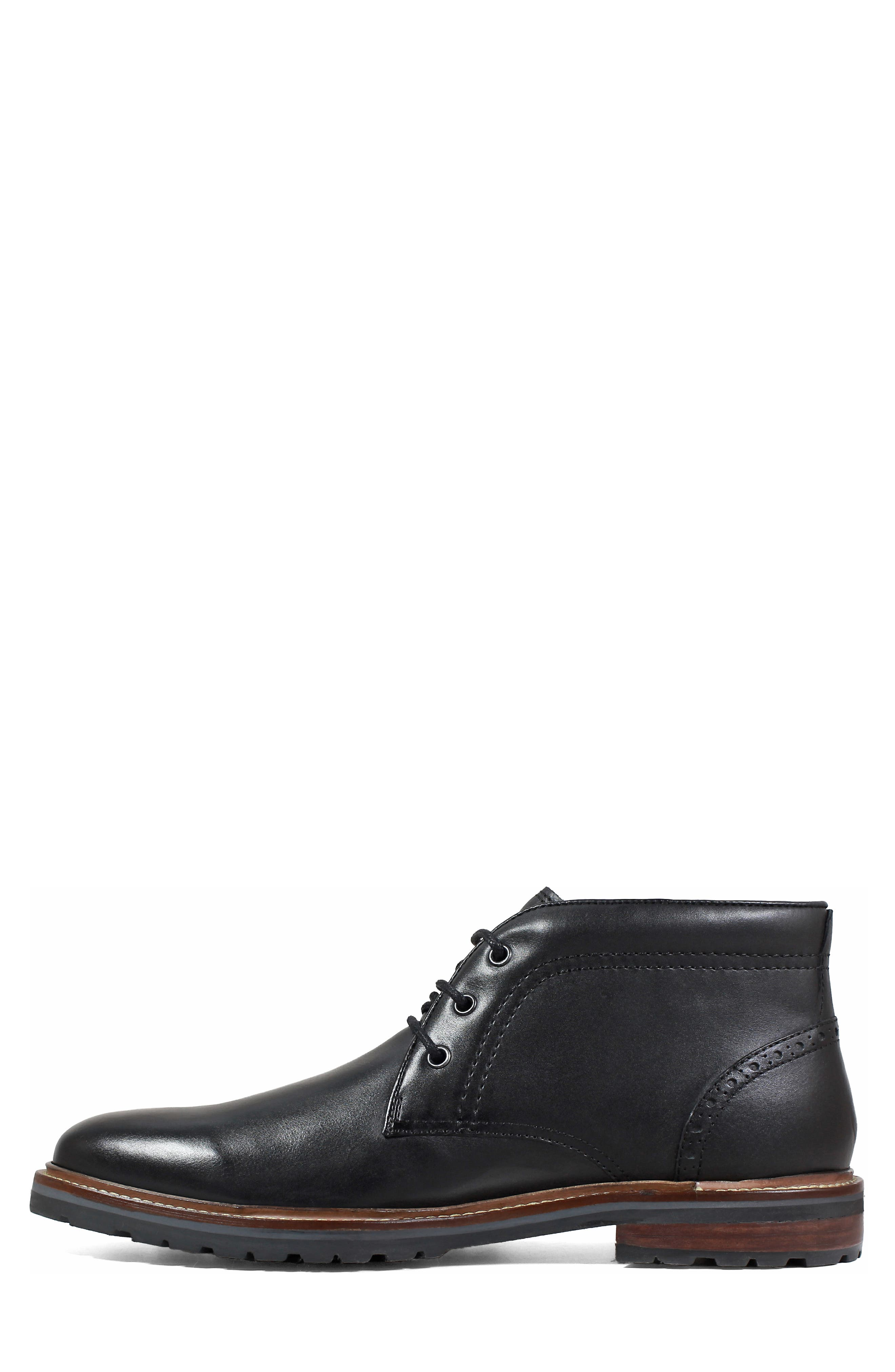 FLORSHEIM, Estabrook Lugged Chukka Boot, Alternate thumbnail 8, color, BLACK LEATHER