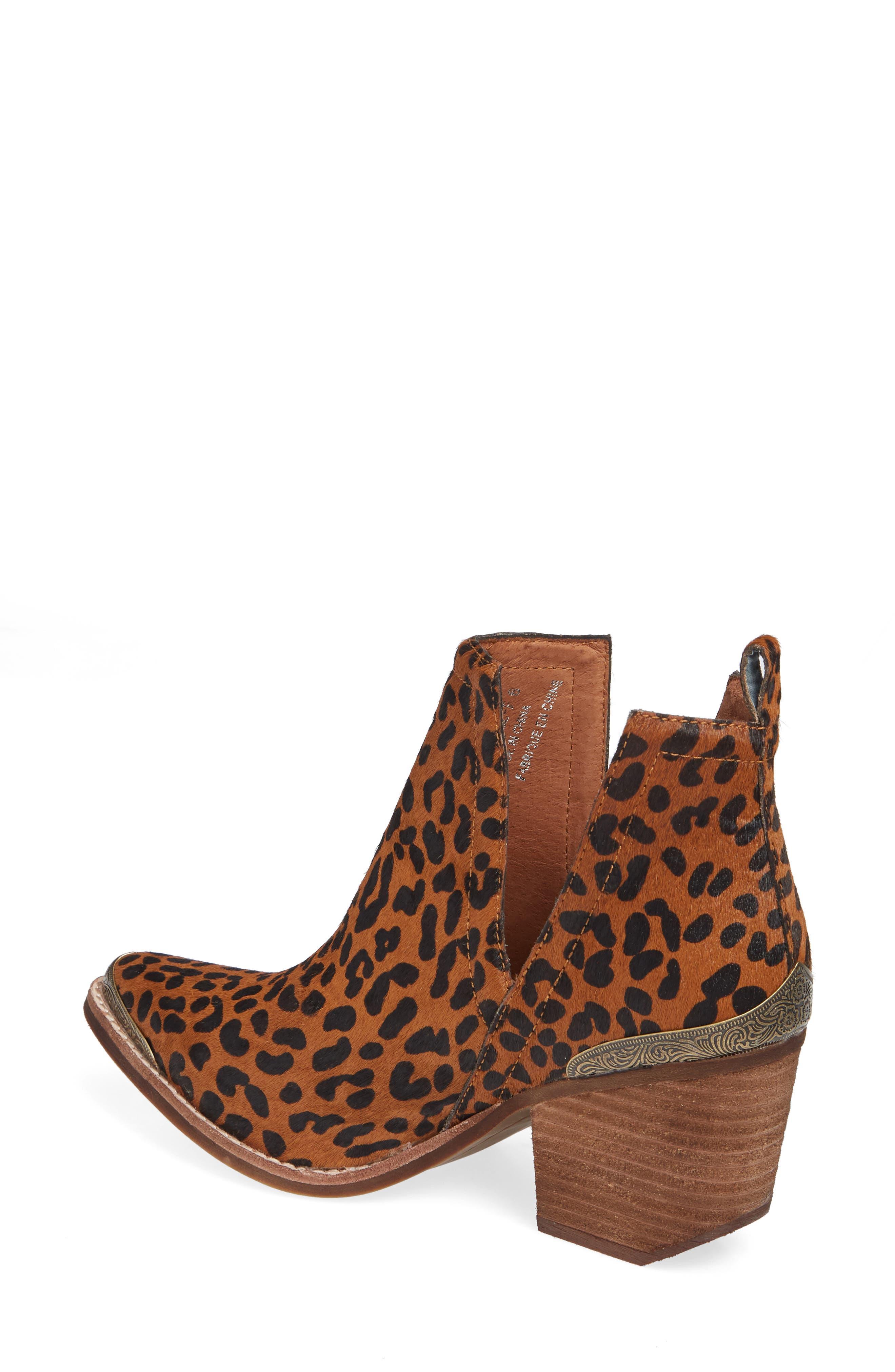 JEFFREY CAMPBELL, Cromwell Cutout Genuine Calf Hair Western Boot, Alternate thumbnail 2, color, BROWN CHEETAH CALF HAIR