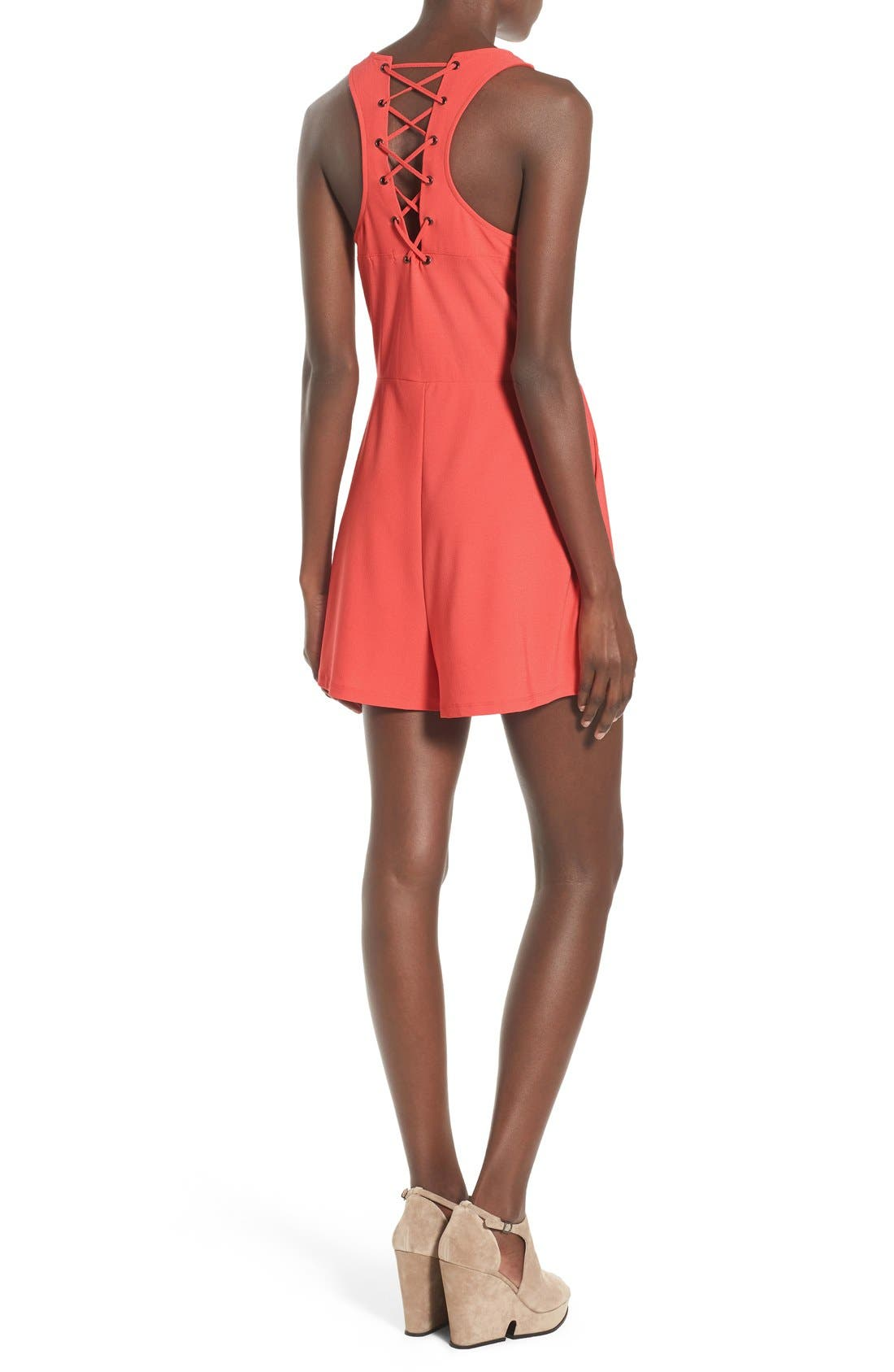 LEITH, Lace-Up Back Romper, Alternate thumbnail 5, color, 958