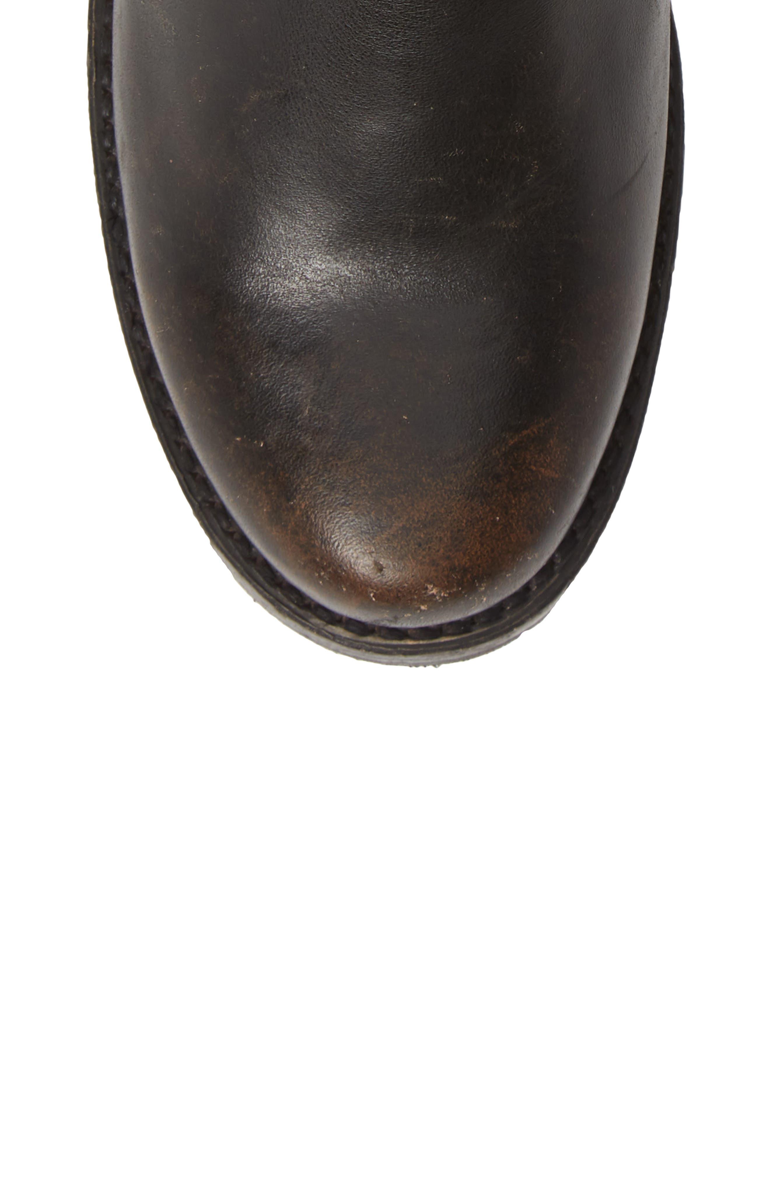 FRYE, 'Veronica' Short Boot, Alternate thumbnail 5, color, BLACK BRUSH OFF LEATHER