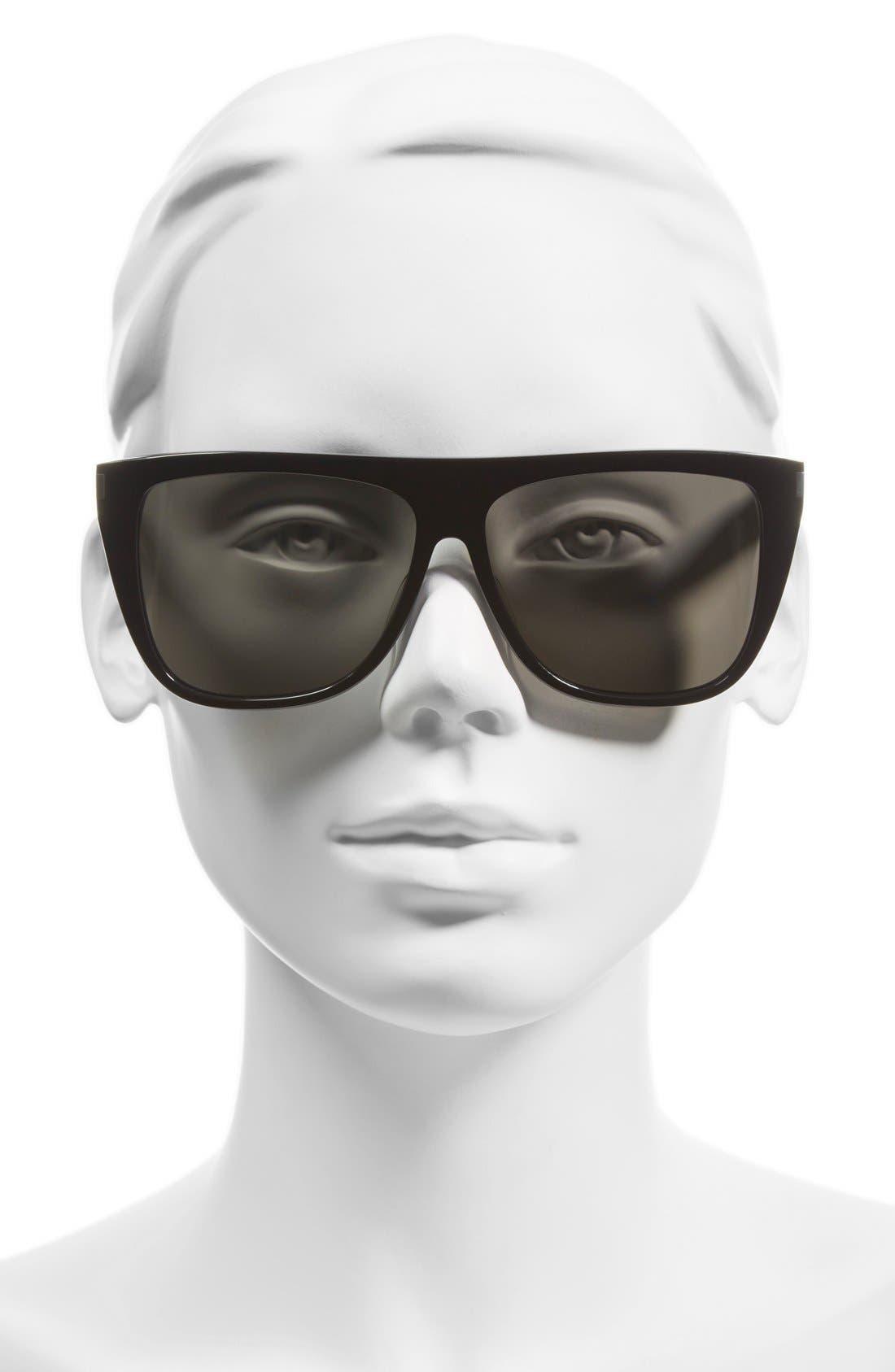 SAINT LAURENT, 59mm Sunglasses, Alternate thumbnail 2, color, BLACK/ SMOKE