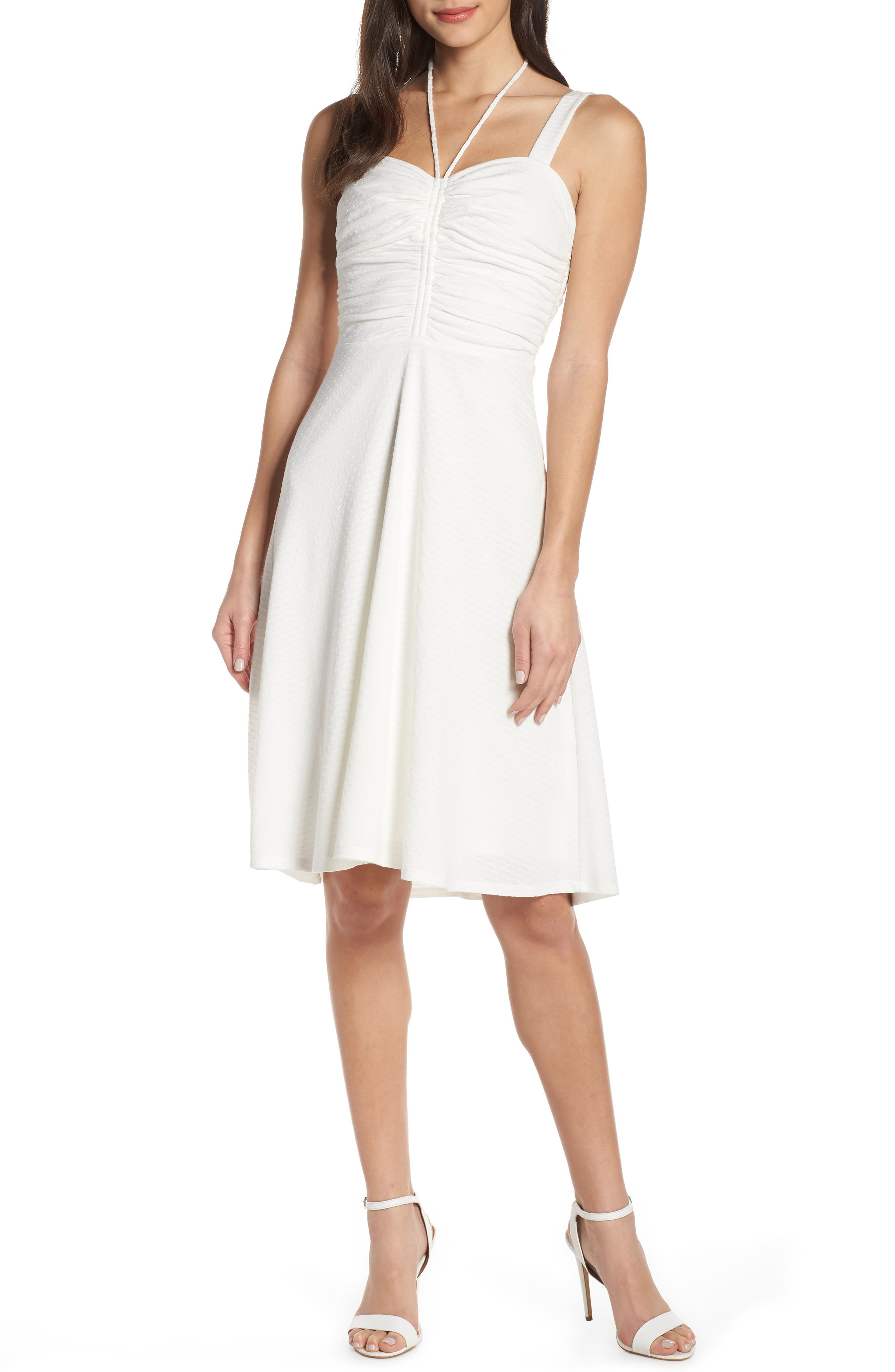 ALI & JAY, Smell the Flowers Fit & Flare Dress, Main thumbnail 1, color, WHITE