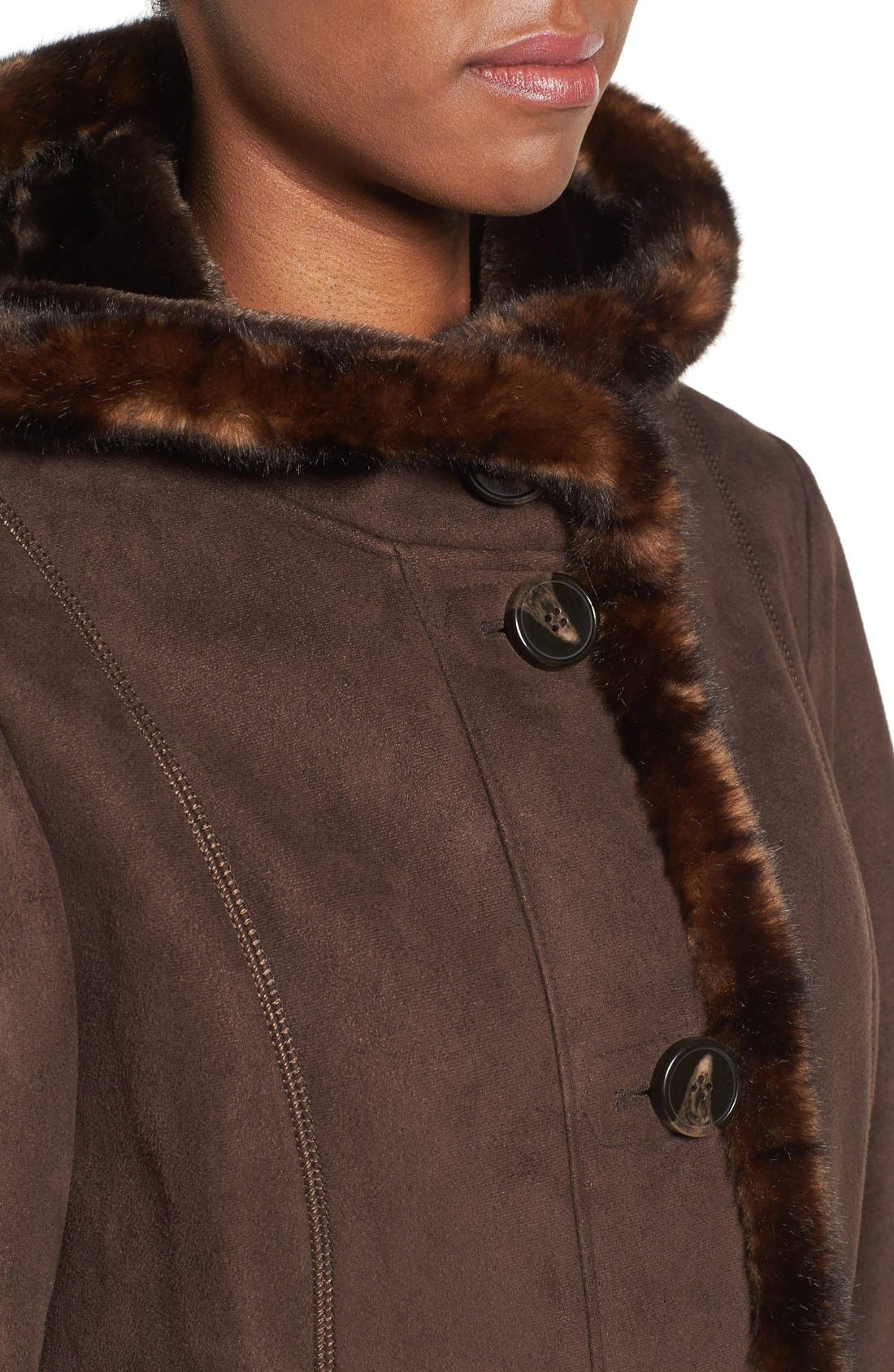 GALLERY, Hooded Faux Shearling Long A-Line Coat, Alternate thumbnail 2, color, CHOCOLATE