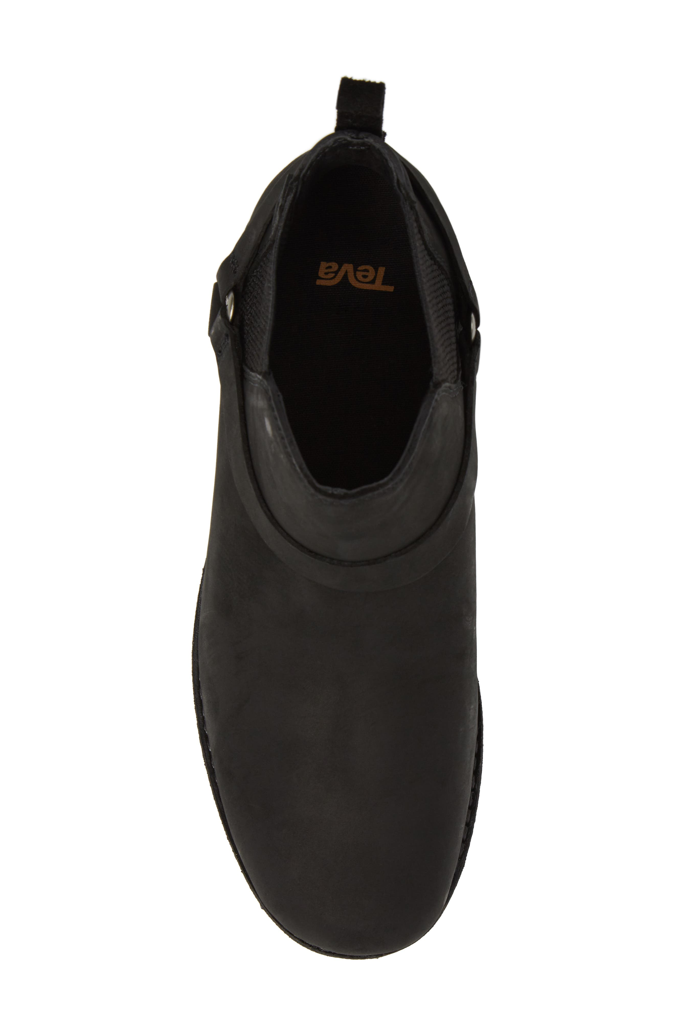 TEVA, De La Vina Dos Waterproof Chelsea Boot, Alternate thumbnail 5, color, BLACK LEATHER