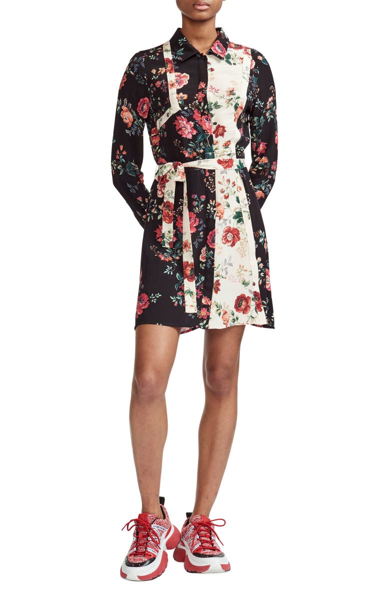Maje Dresses RILLER TWO-TONE FLORAL PRINT SHIRTDRESS