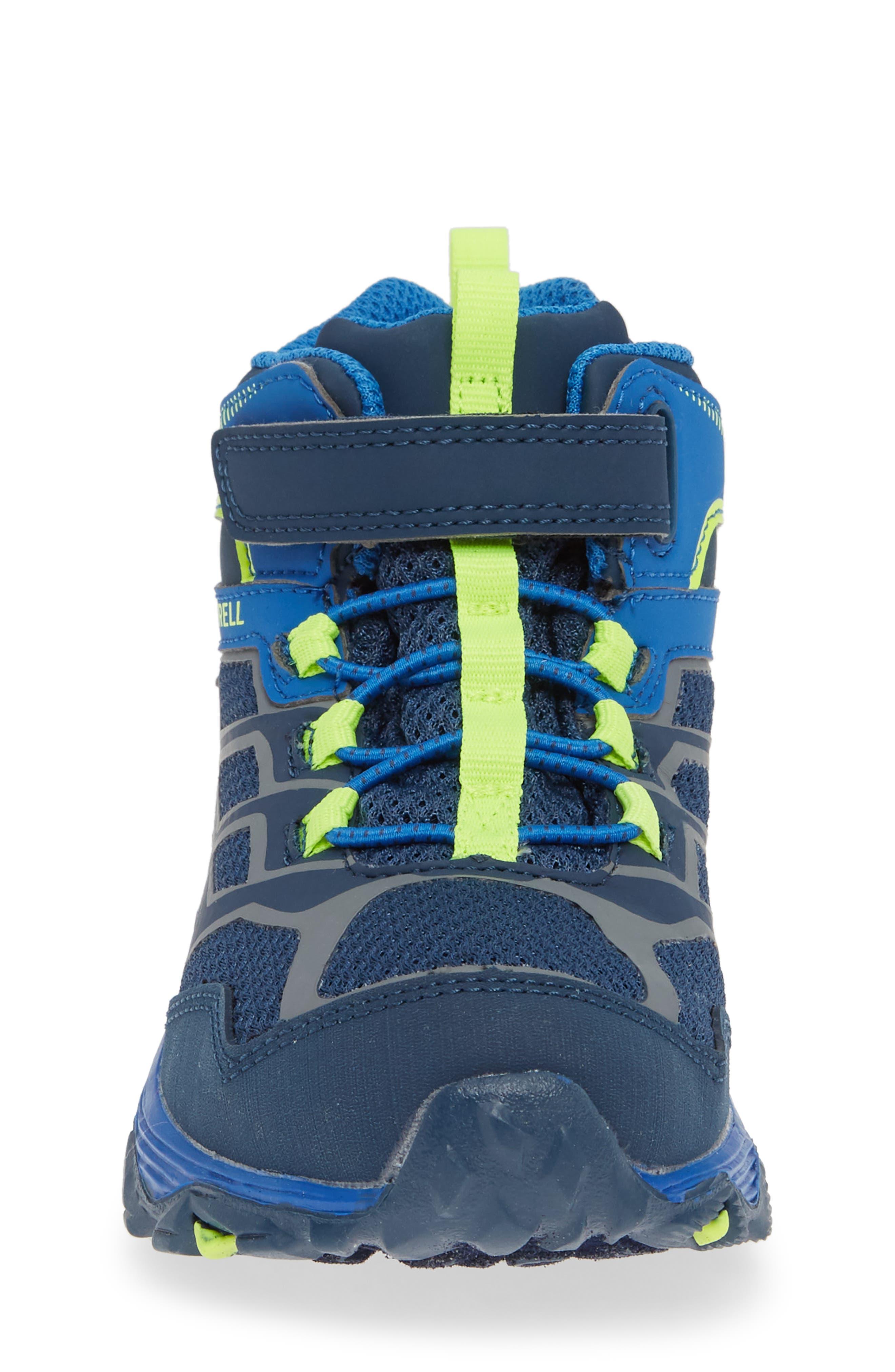 MERRELL, Moab FST Mid Top Waterproof Sneaker Boot, Alternate thumbnail 4, color, NAVY/ COBALT