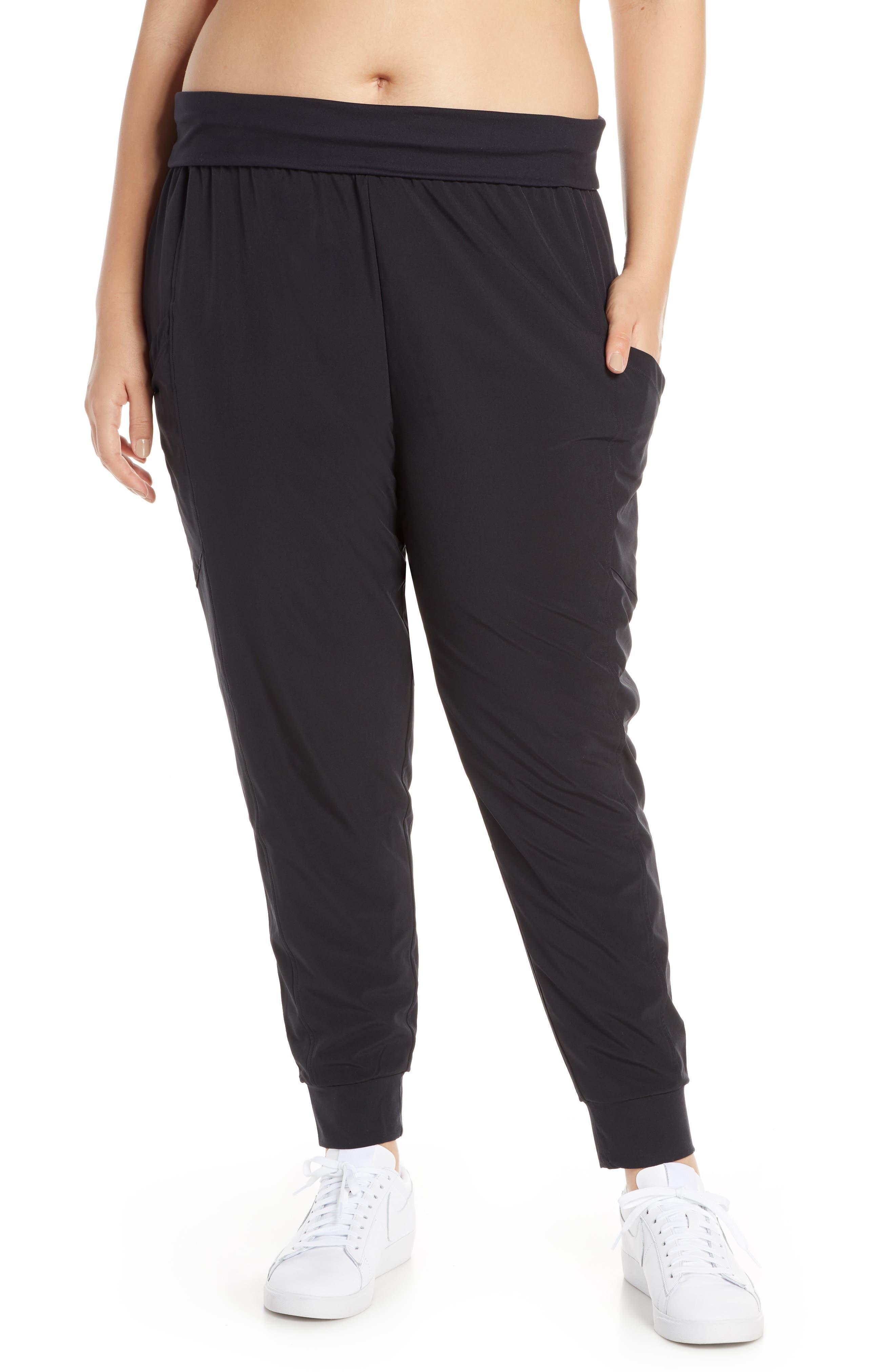 ZELLA, Urban Fold Down Waist Ankle Pants, Alternate thumbnail 2, color, BLACK