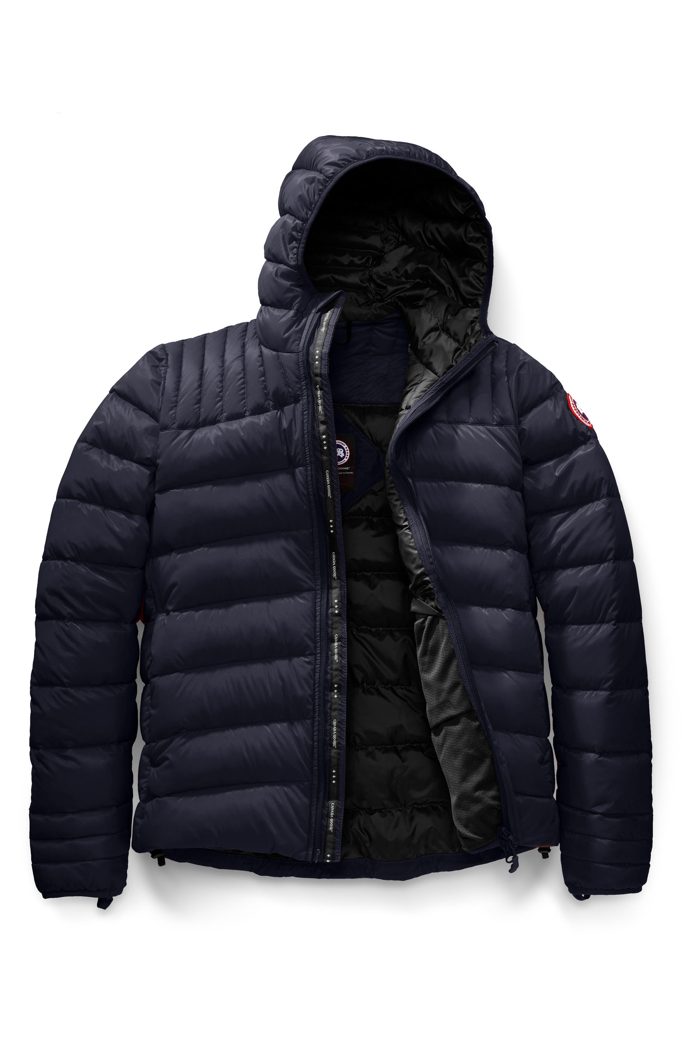 CANADA GOOSE, Brookvale Slim Fit Hooded Down Jacket, Alternate thumbnail 5, color, ADMIRAL BLUE/ BLACK