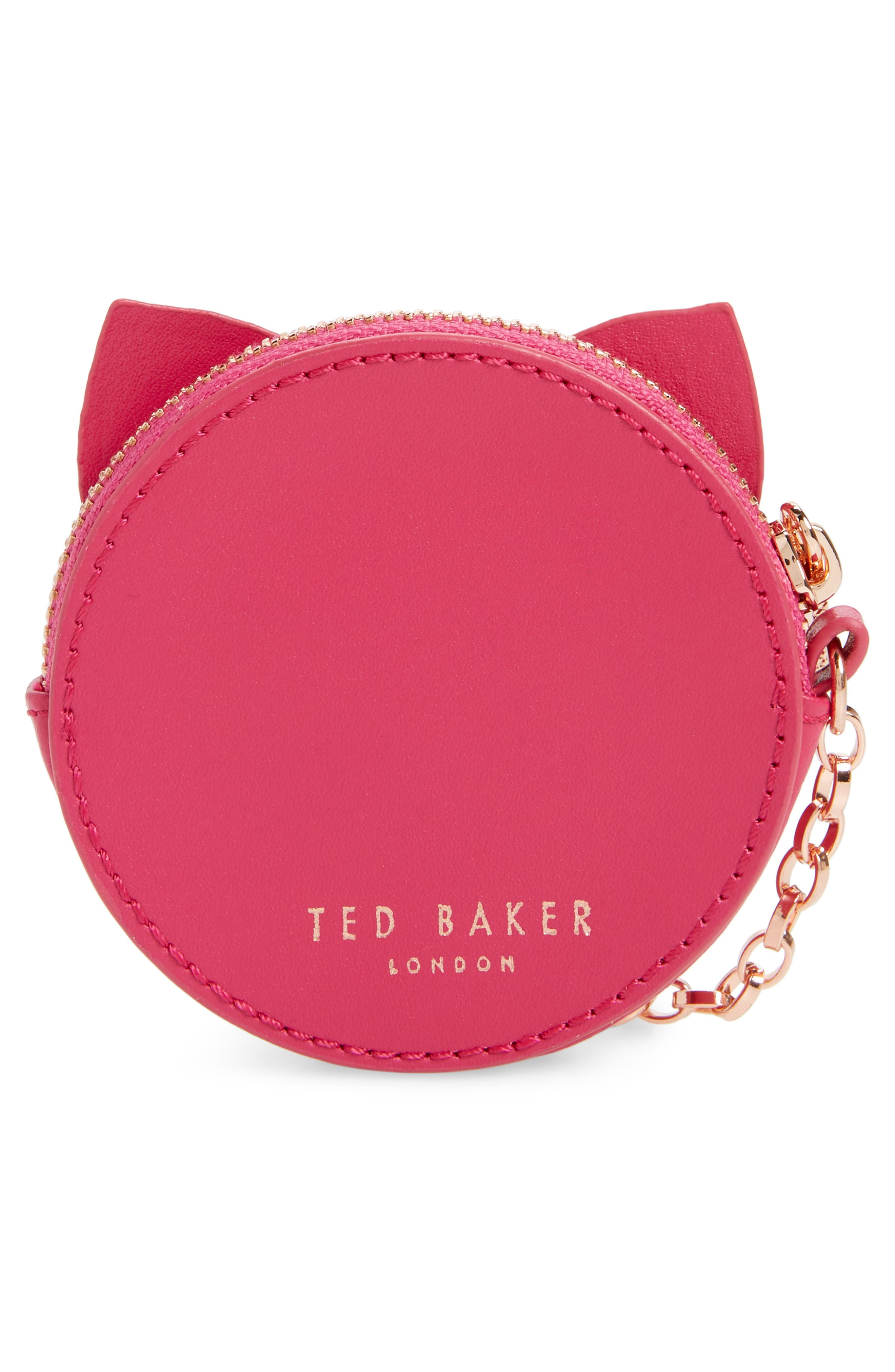 TED BAKER LONDON, Tabbiee Leather Coin Purse, Alternate thumbnail 4, color, FUCHSIA