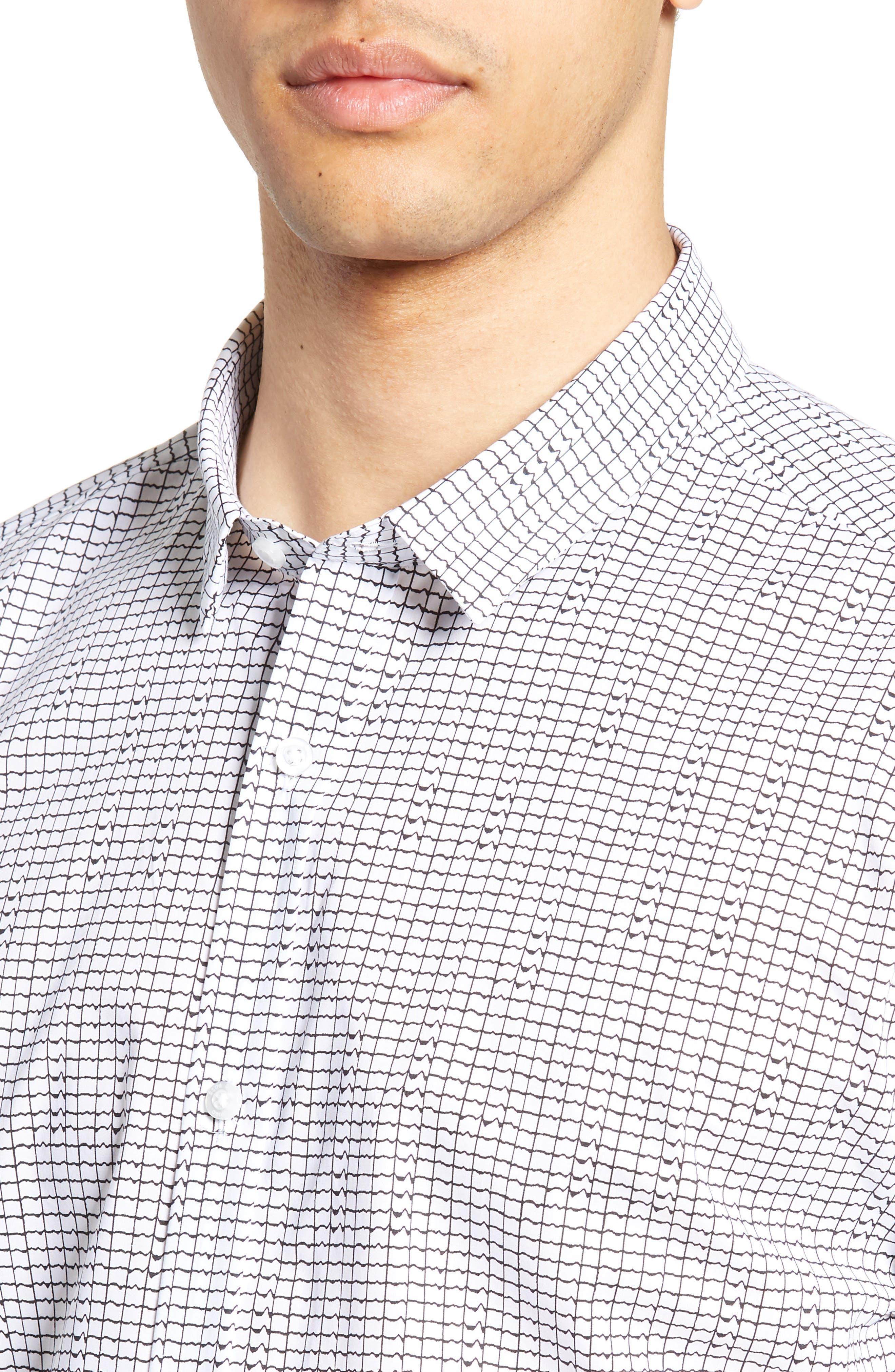 HUGO, Empson Slim Fit Print Sport Shirt, Alternate thumbnail 2, color, WHITE