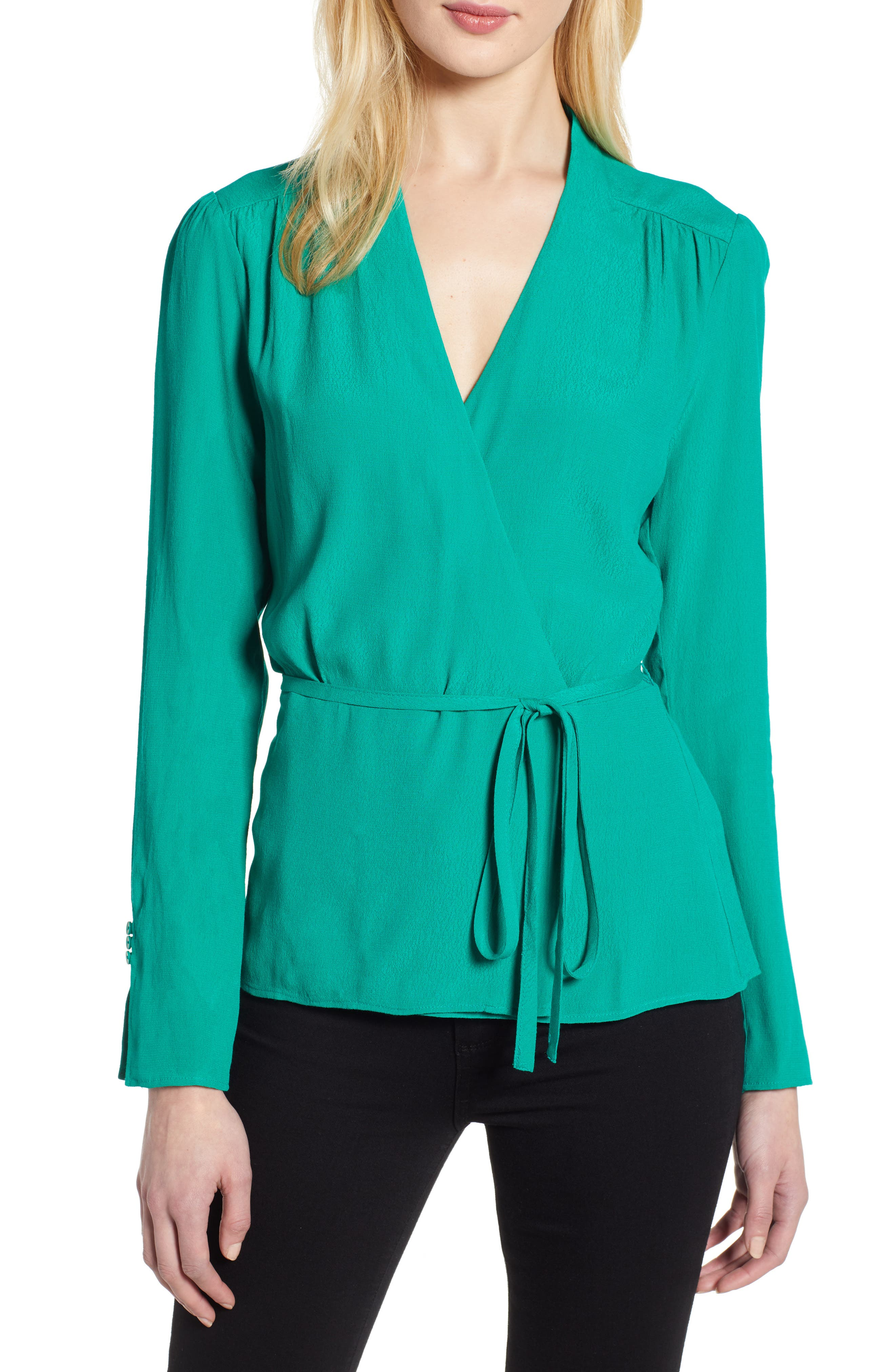CHELSEA28, Tie Waist Wrap Top, Main thumbnail 1, color, GREEN PARAKEET