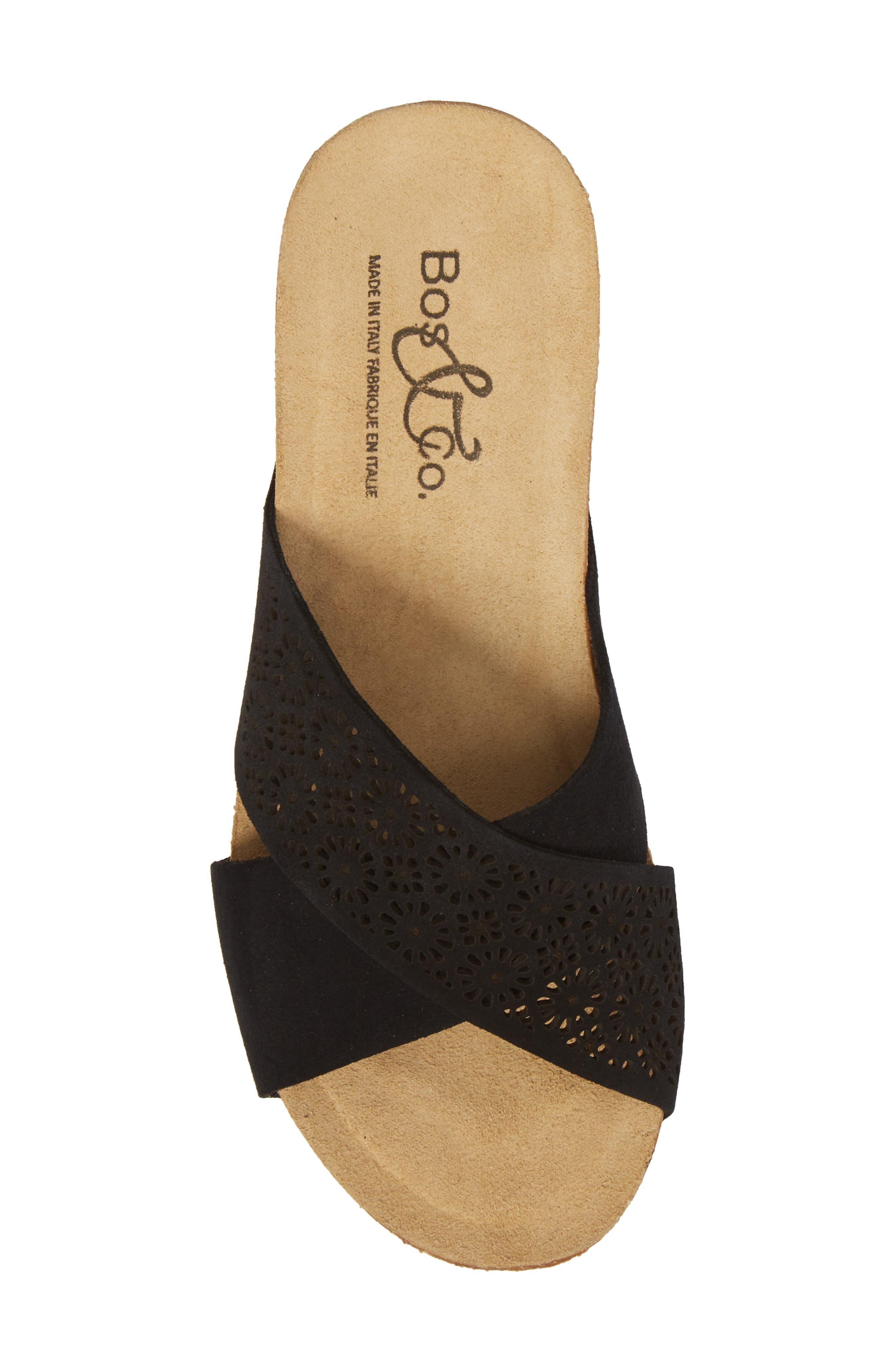 BOS. & CO., Lomi Platform Wedge Slide Sandal, Alternate thumbnail 5, color, BLACK SUEDE
