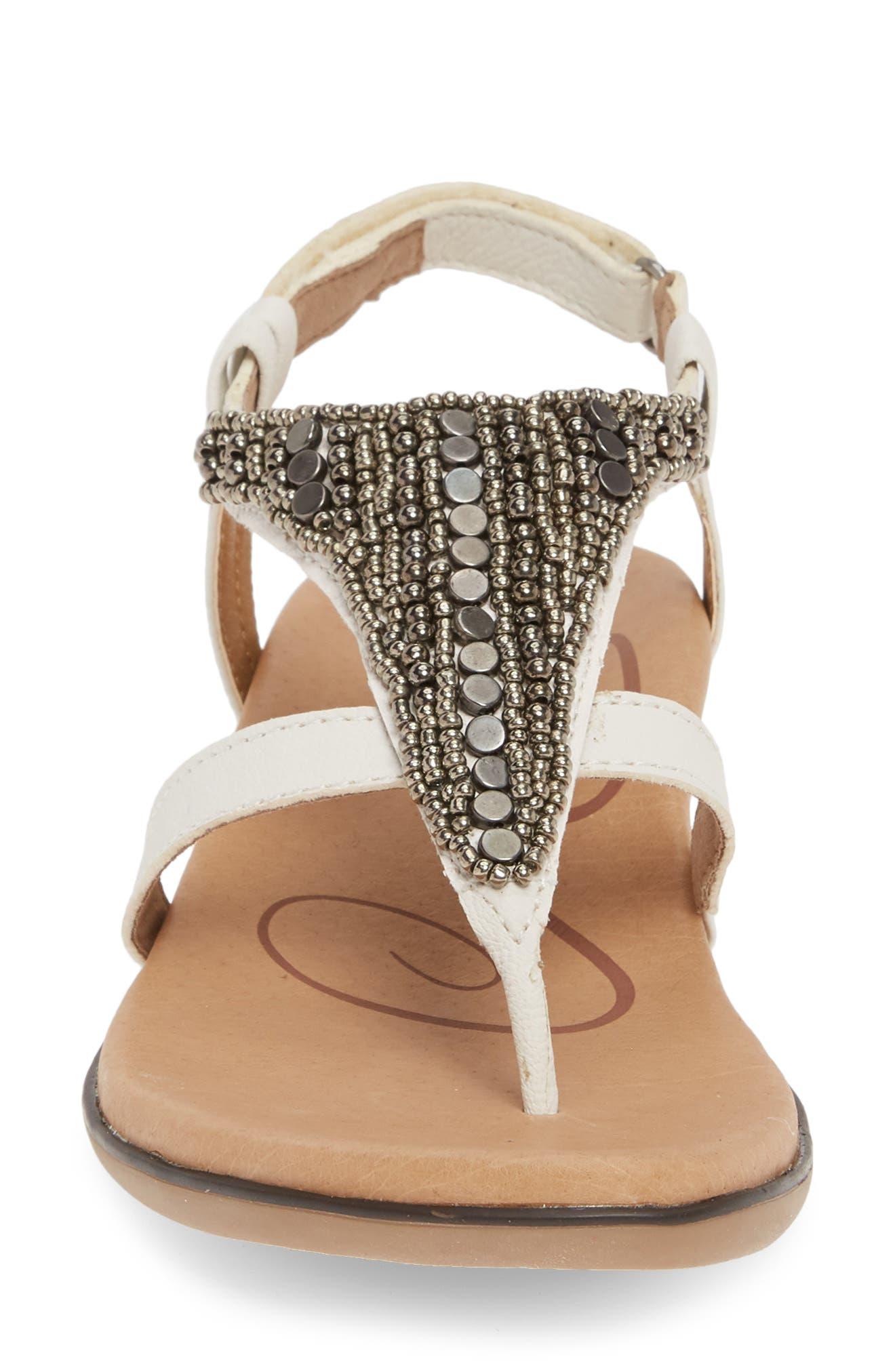 AETREX, Sheila Embellished Sandal, Alternate thumbnail 4, color, WHITE LEATHER