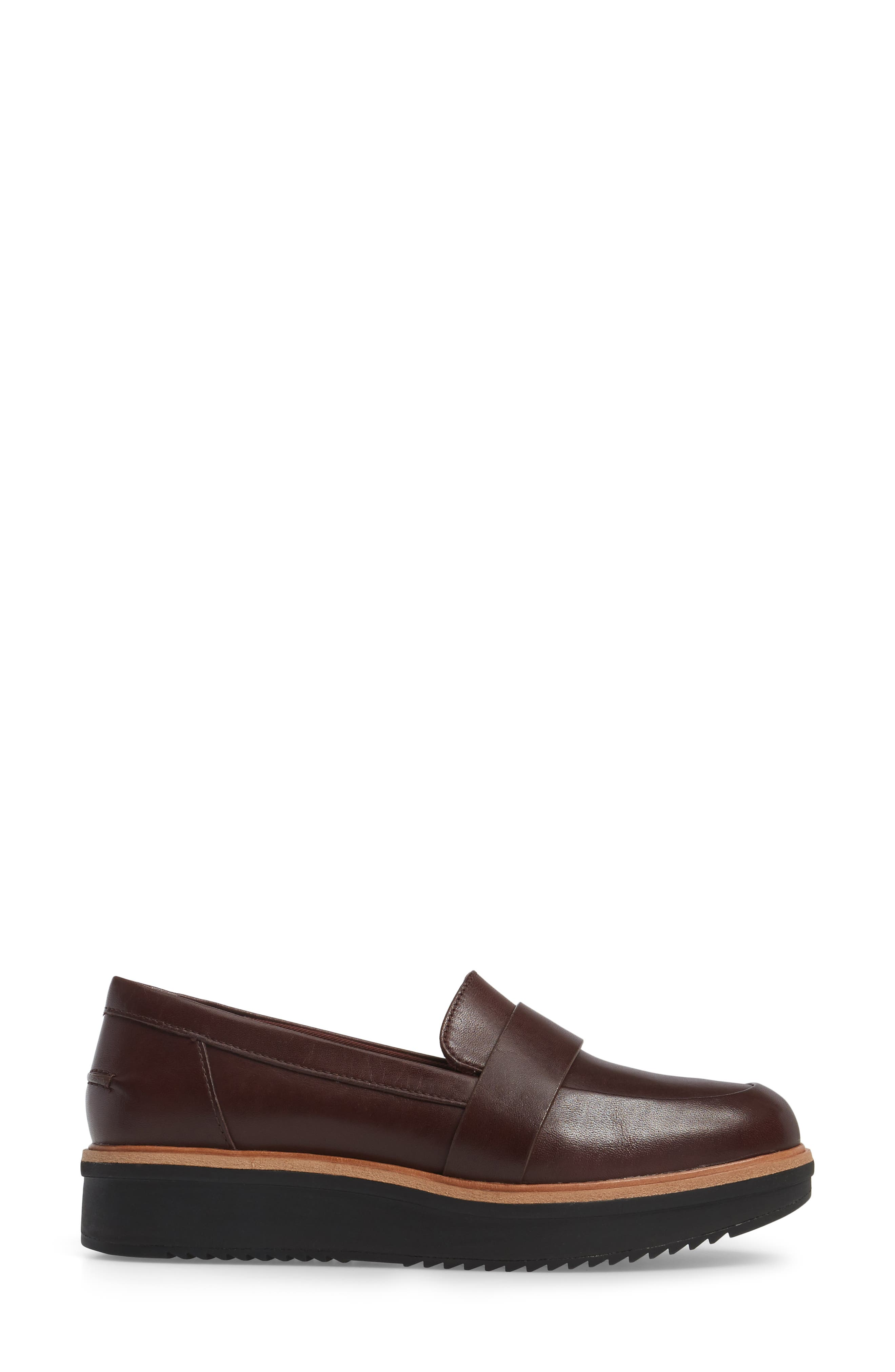 CLARKS<SUP>®</SUP>, Teadale Elsa Loafer, Alternate thumbnail 3, color, BURGUNDY LEATHER