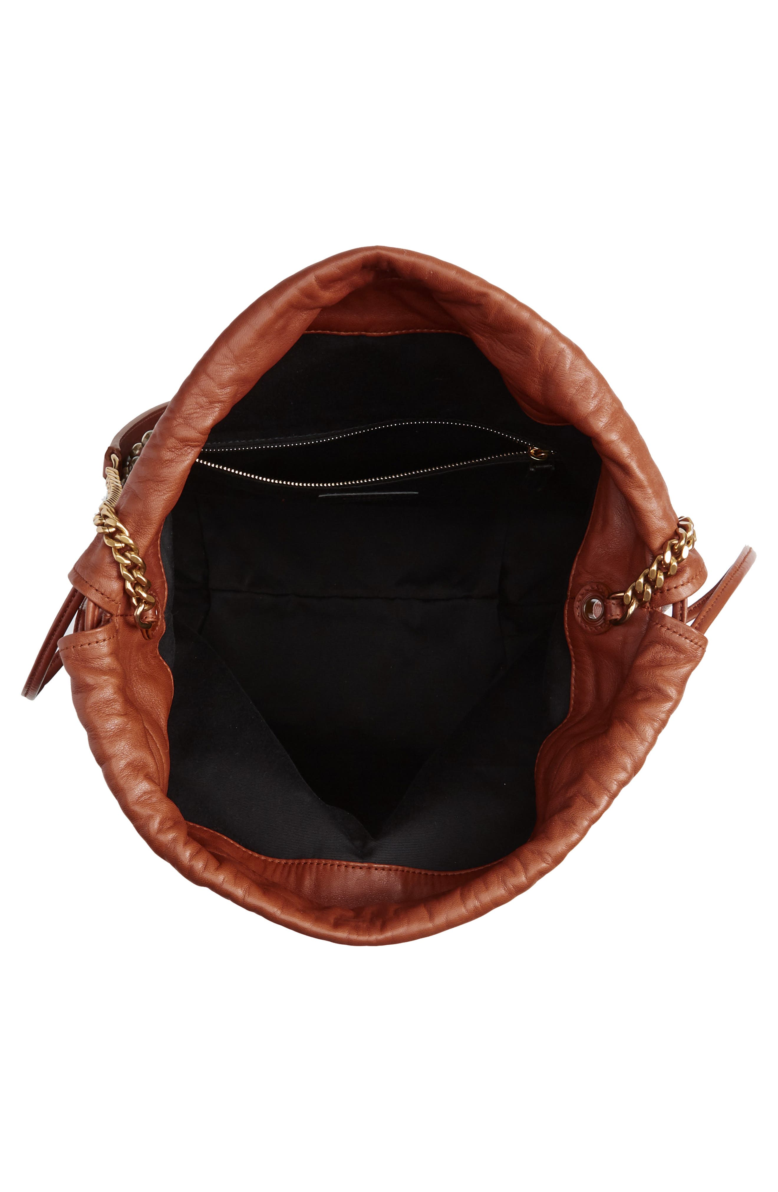 SAINT LAURENT, Teddy Studded Leather Bucket Bag, Alternate thumbnail 4, color, 200