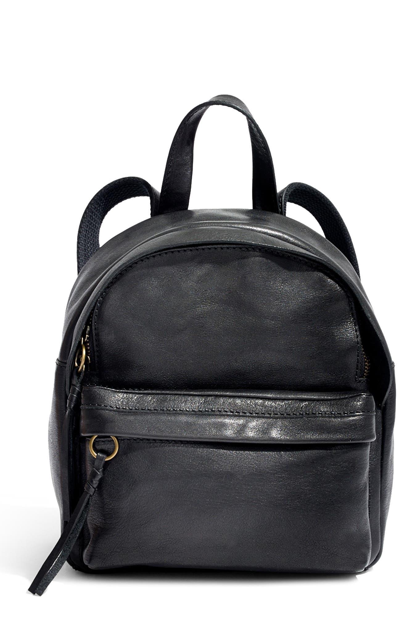 MADEWELL, Mini Lorimer Leather Backpack, Main thumbnail 1, color, TRUE BLACK