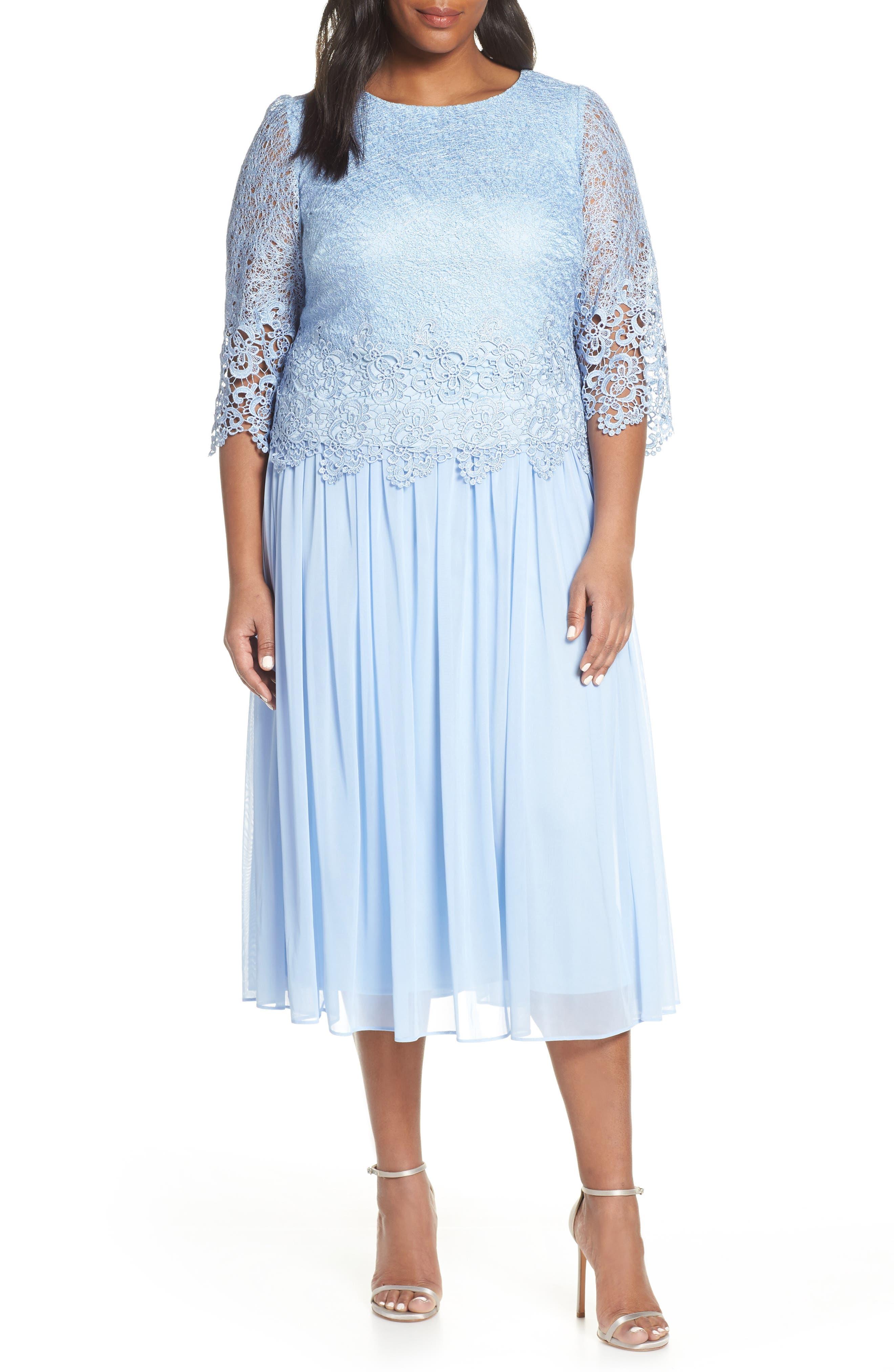 Plus Size Alex Evenings Lace & Chiffon Tea Length Dress, Blue