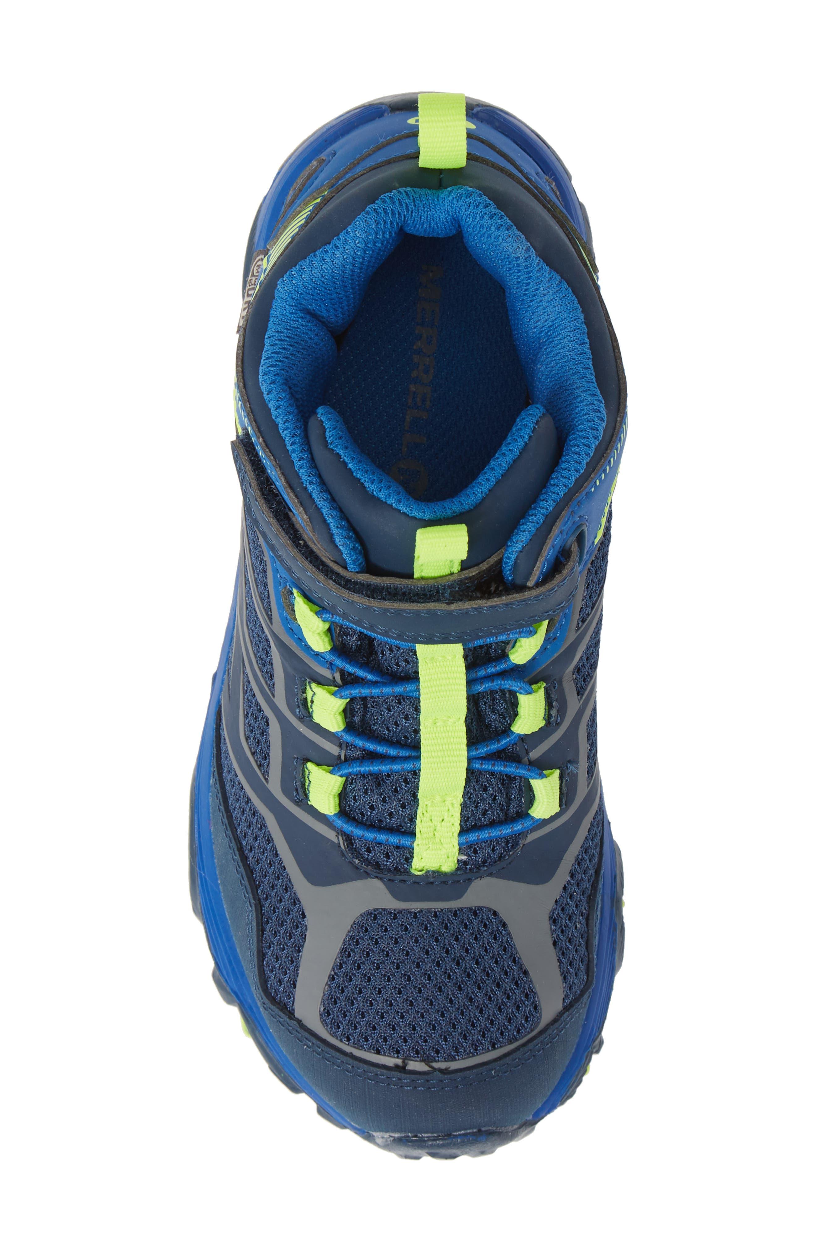 MERRELL, Moab FST Mid Top Waterproof Sneaker Boot, Alternate thumbnail 5, color, NAVY/ COBALT