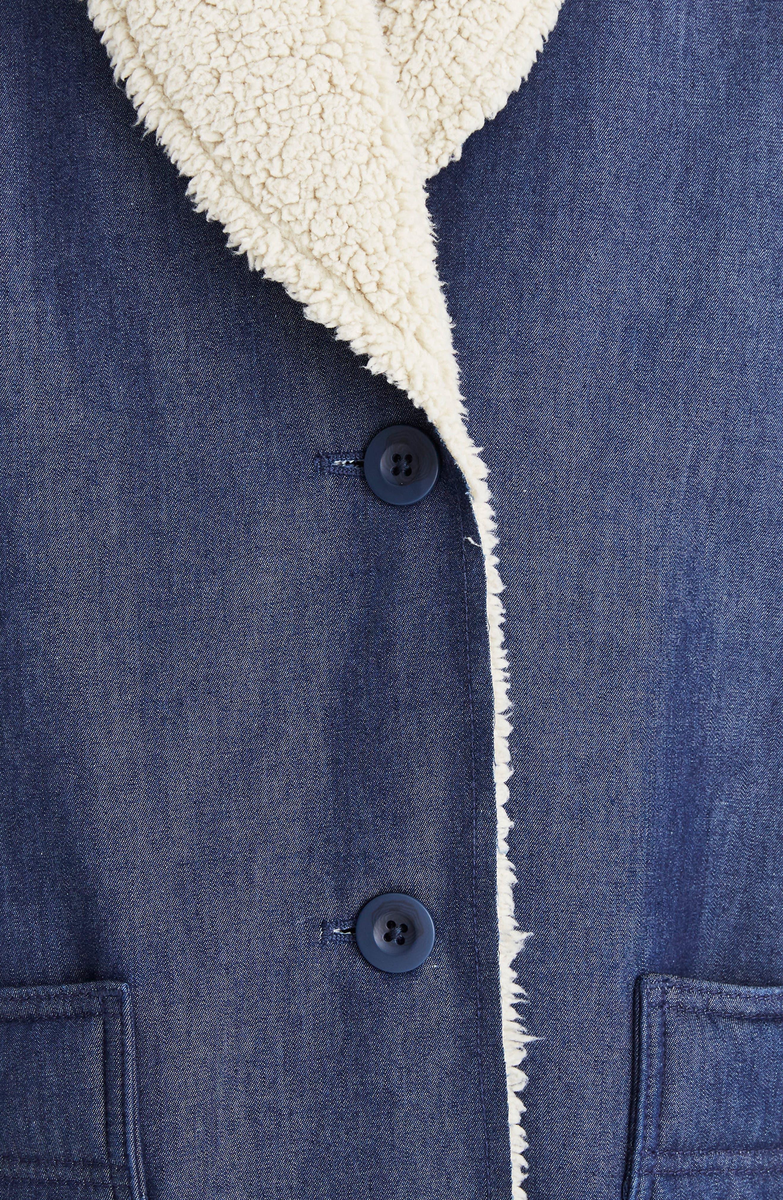 MADEWELL, Fleece Trim Denim Cocoon Coat, Alternate thumbnail 5, color, BRUNSWICK WASH