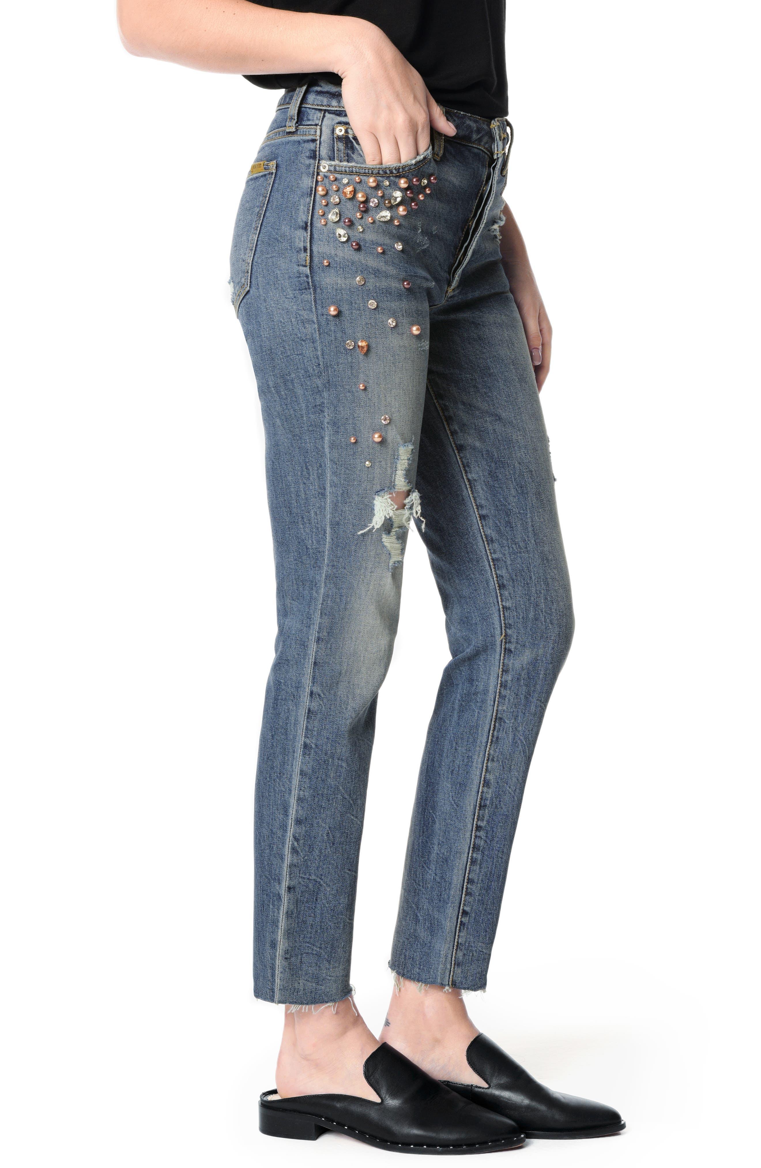 JOE'S, Smith Embellished High Waist Raw Hem Ankle Boyfriend Jeans, Alternate thumbnail 4, color, SHEYENNE
