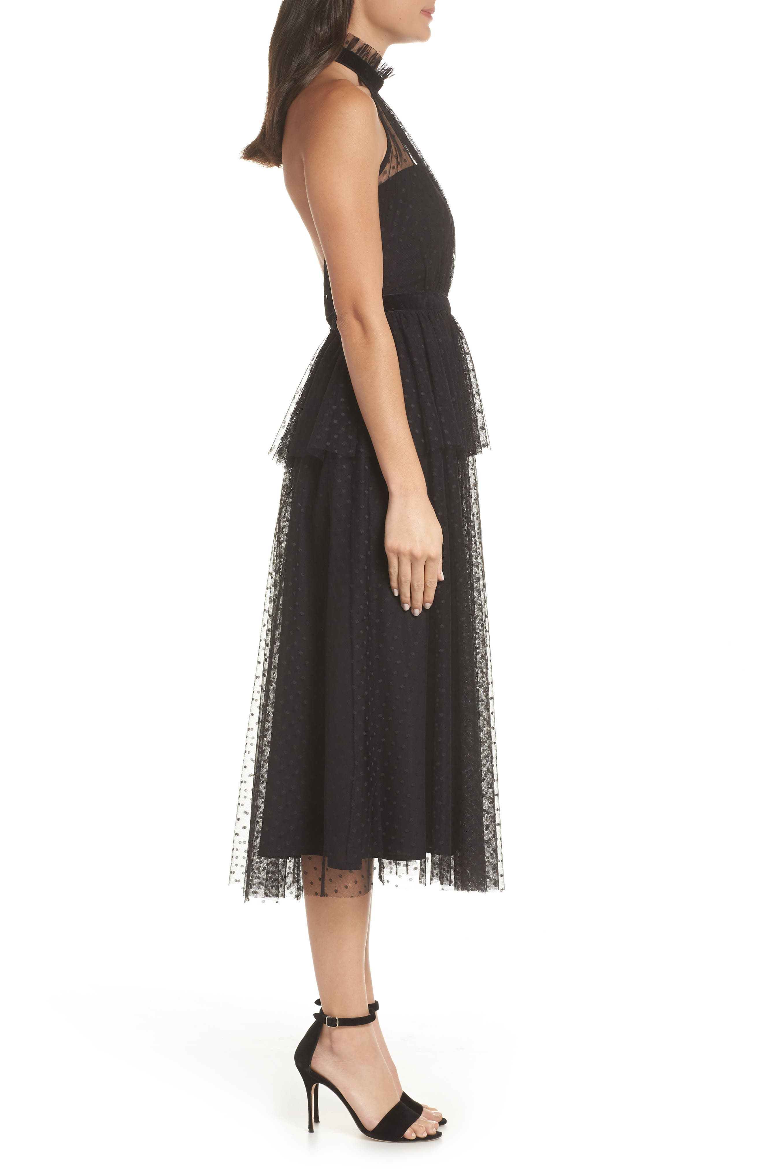 AVEC LES FILLES, Tiered Tulle Dress, Alternate thumbnail 4, color, BLACK