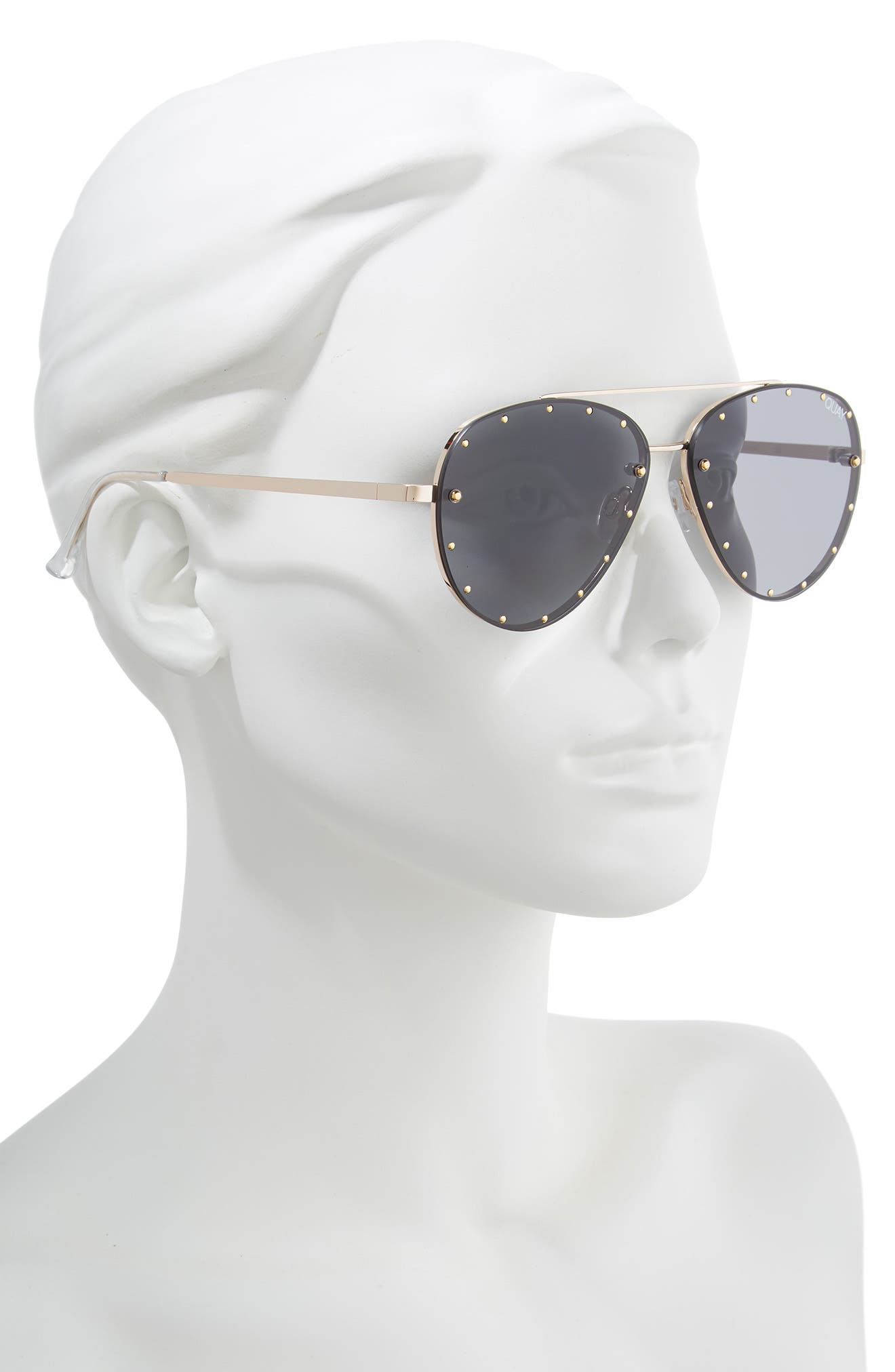 QUAY AUSTRALIA, x Jaclyn Hill Roxanne 62mm Stud Aviator Sunglasses, Alternate thumbnail 4, color, GOLD / SMOKE