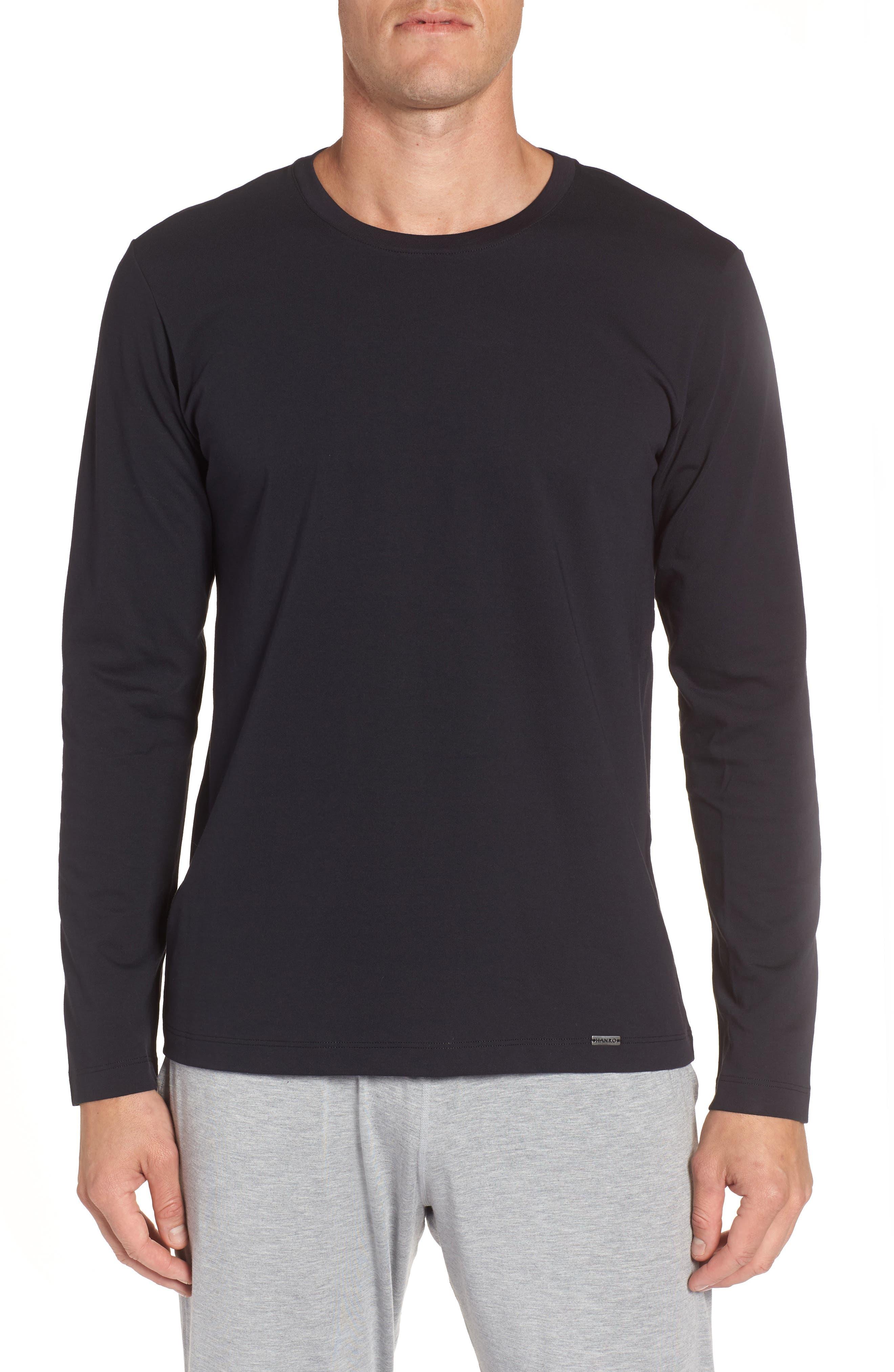 HANRO, Living Long Sleeve T-Shirt, Main thumbnail 1, color, BLACK