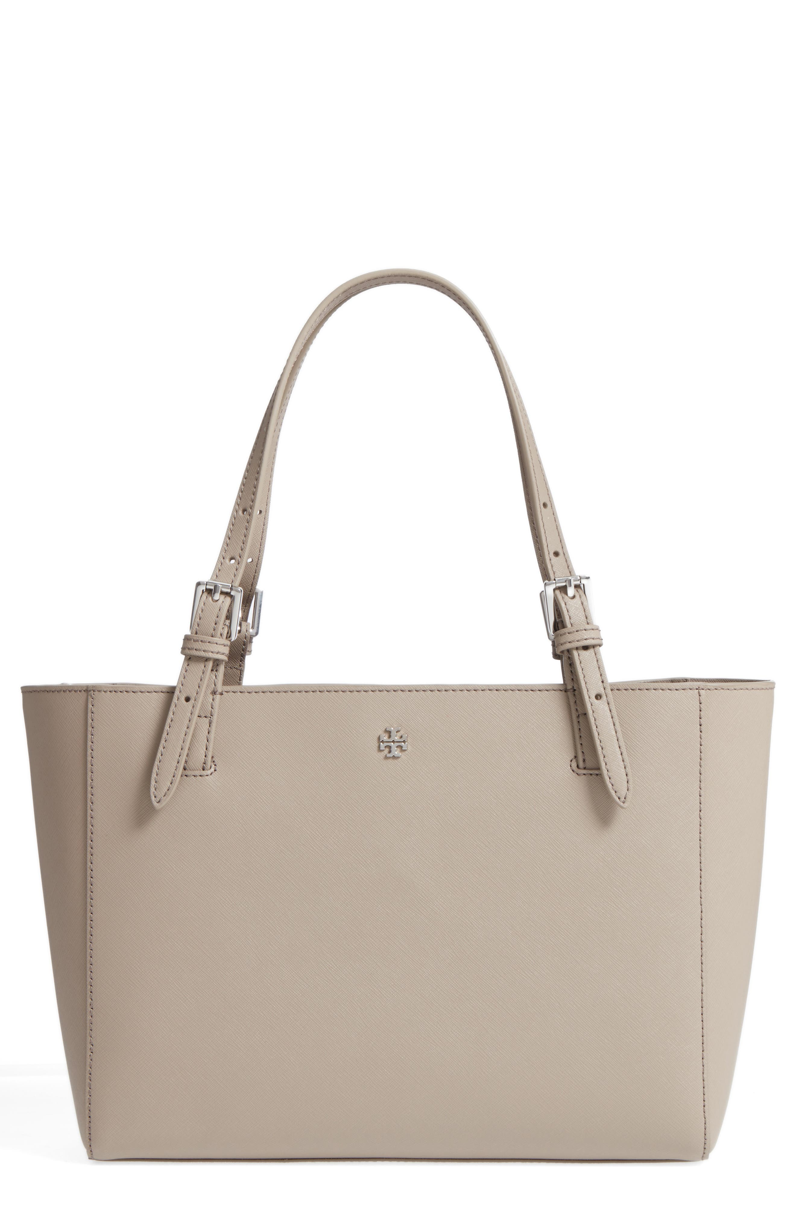 TORY BURCH, 'Small York' Saffiano Leather Buckle Tote, Main thumbnail 1, color, 020