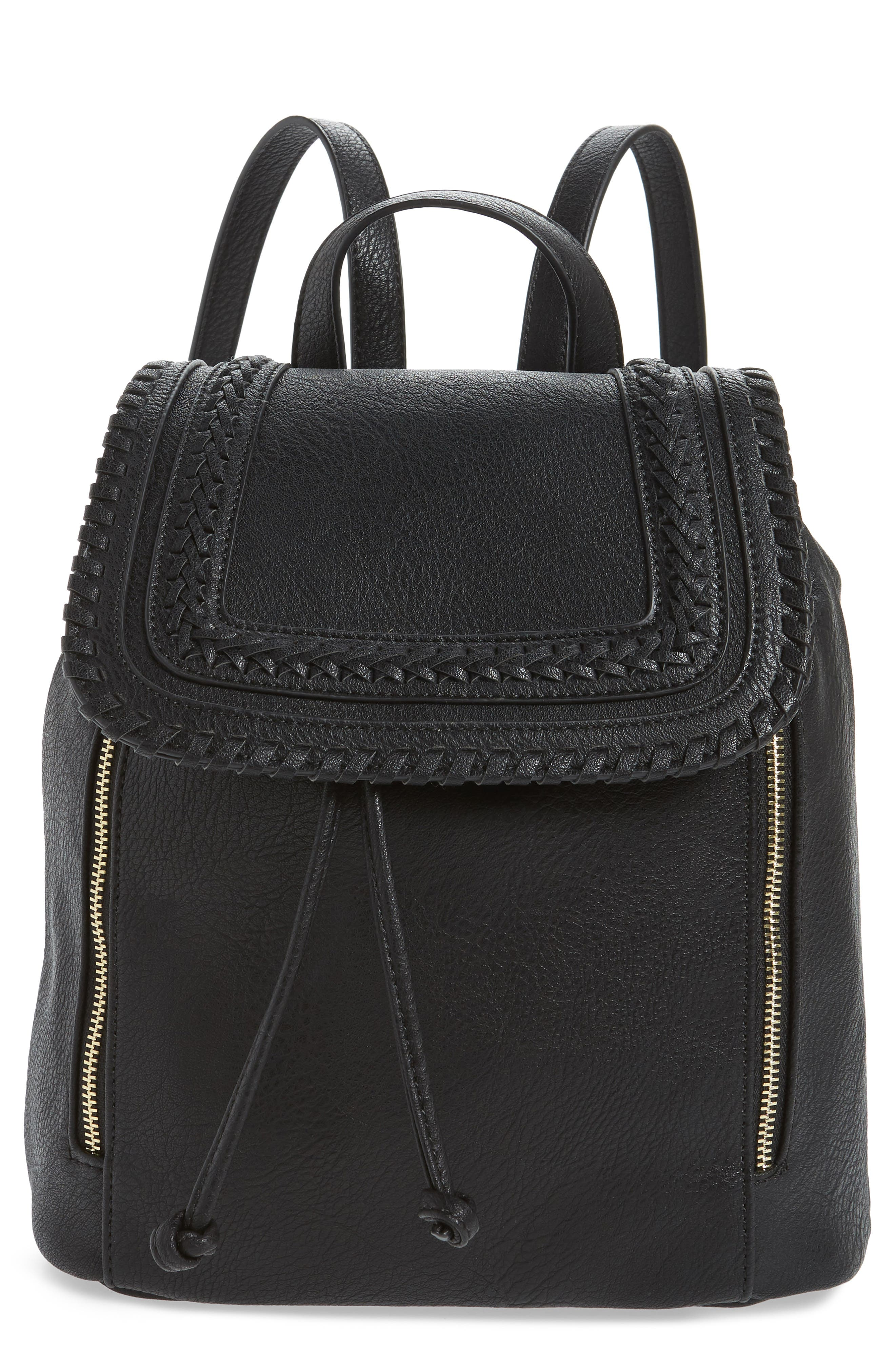 SOLE SOCIETY, Destin Faux Leather Backpack, Main thumbnail 1, color, BLACK