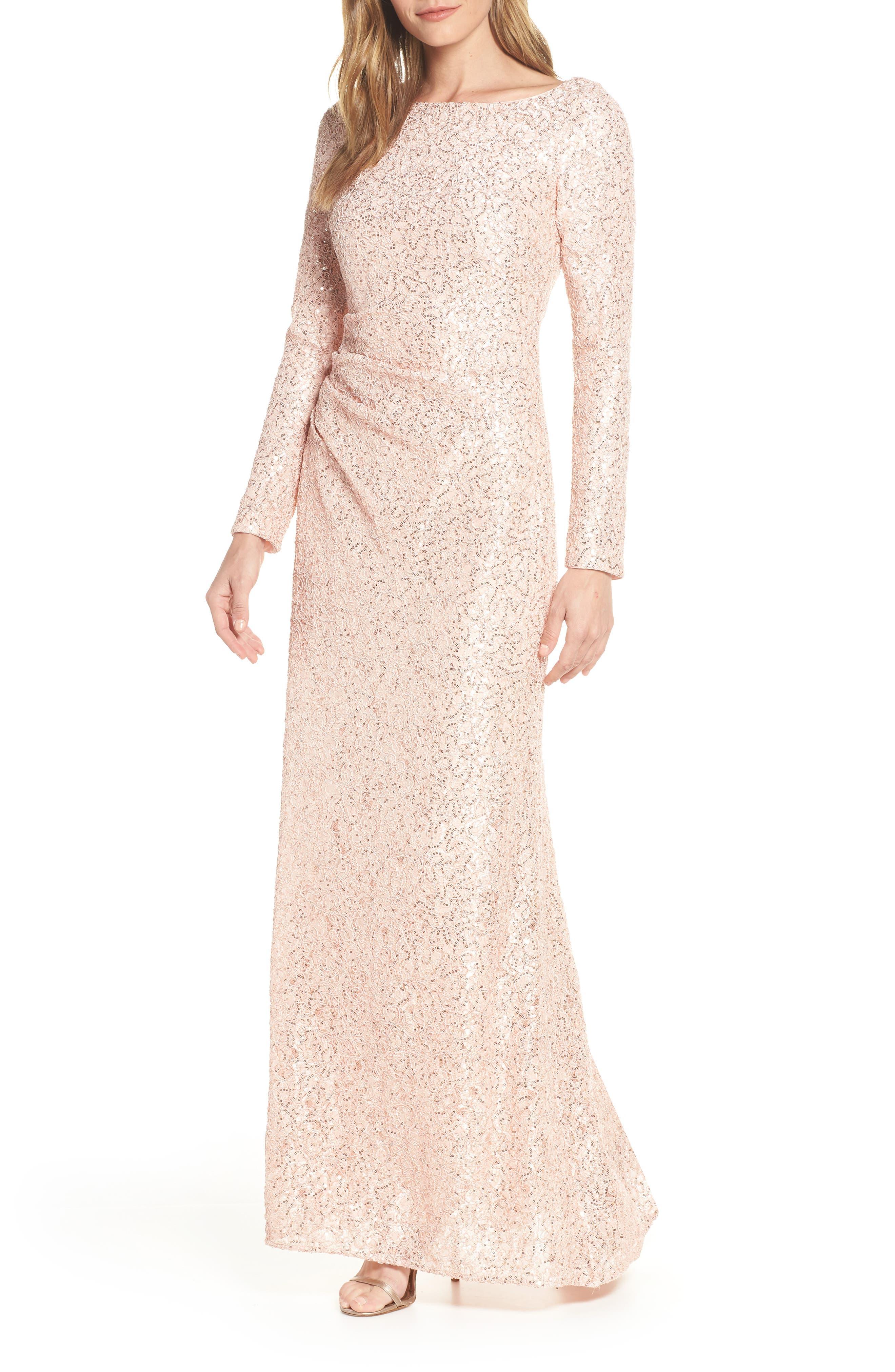Petite Vince Camuto Sequin Lace Evening Dress, Pink