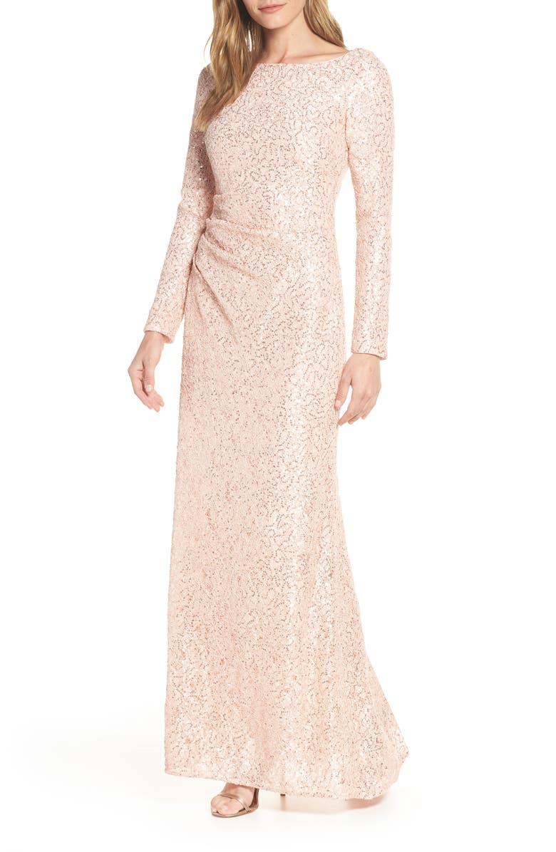 VINCE CAMUTO Sequin Lace Evening Dress, Main, color, BLUSH